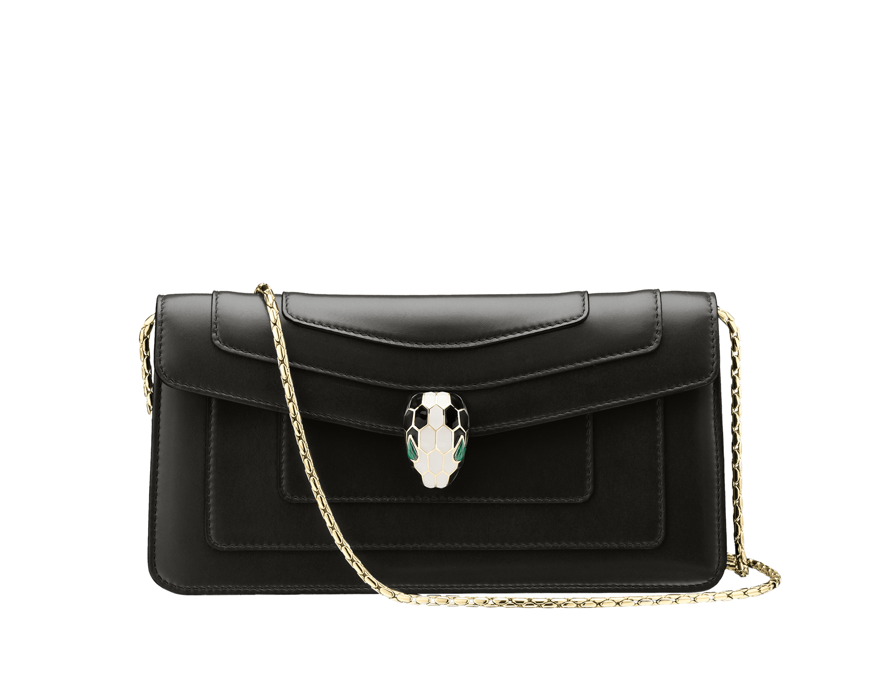 Shoulder bag in black calf leather with brass gold plated Serpenti head closure in black and white enamel with eyes in malachite. One open pocket, one small mirror included and detachable snake chain for handcarry. Also available in other colours. 25x12x3.5cm, 9.8x4.7x1.4 inches 486-CL image 1