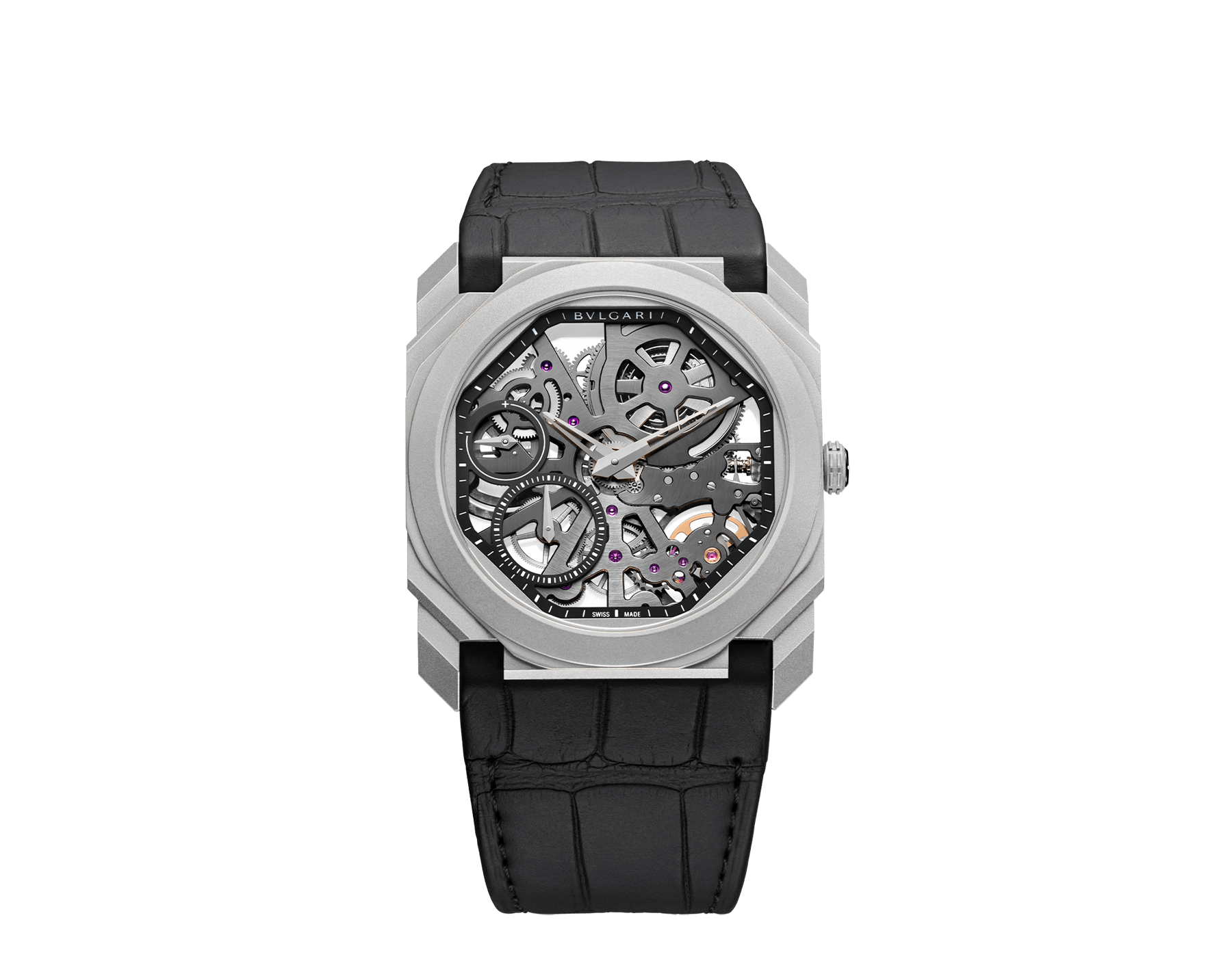 Octo Finissimo watch with ultra-thin skeletonized mechanical manufacture movement, manual winding and small seconds, titanium case, transparent dial and black alligator bracelet 102714 image 1