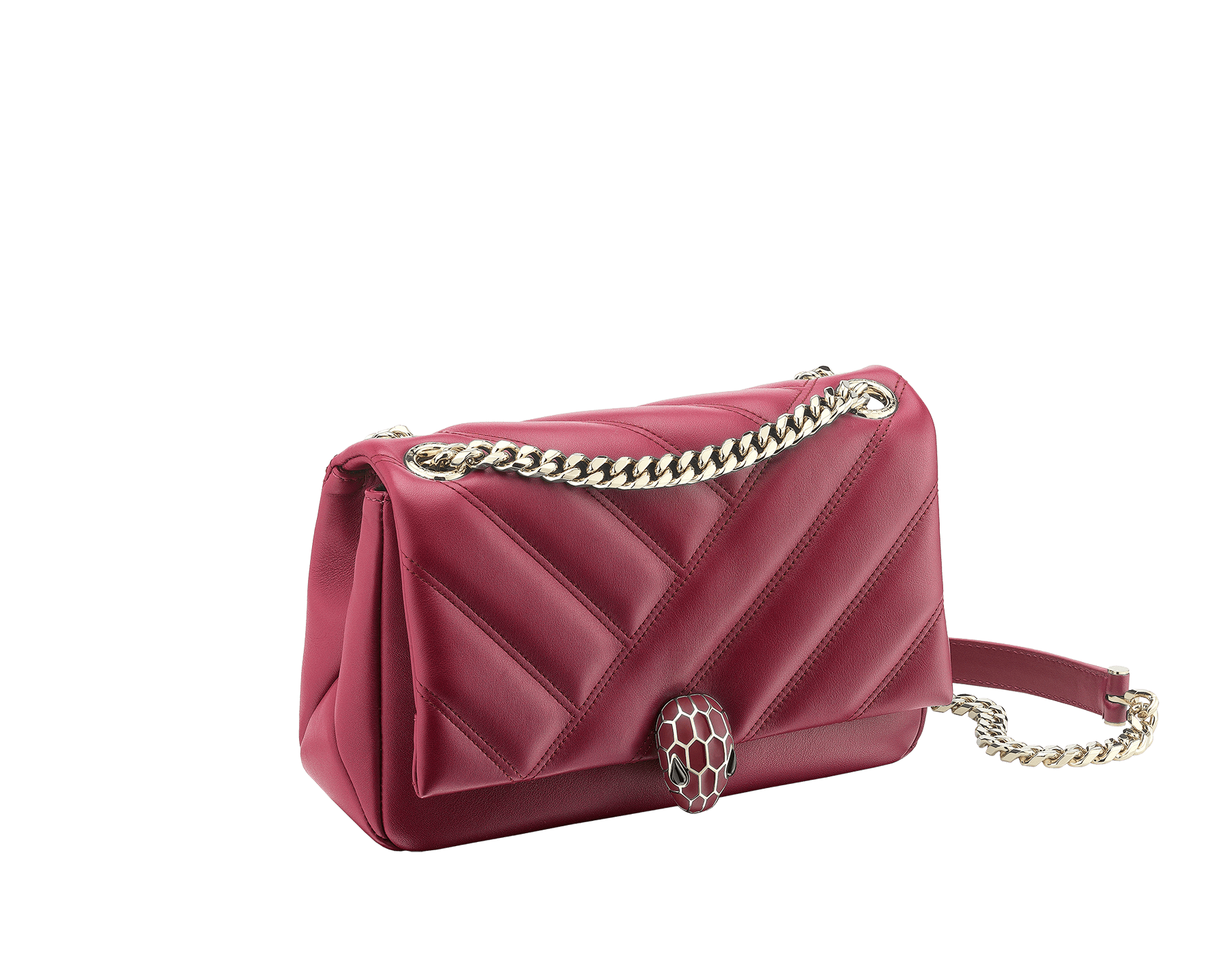 Serpenti Cabochon shoulder bag in soft matelassé Roman garnet nappa leather with a graphic motif, and Roman garnet calf leather. Light gold-plated brass tempting snakehead closure in matte Roman garnet and shiny Roman garnet enamel and black onyx eyes. 981-NSM image 2