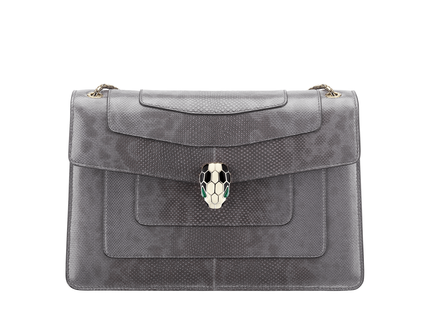 """""""Serpenti Forever"""" shoulder bag in rhapsody opal shiny karung skin. Iconic snakehead closure in light gold plated brass enriched with black and white enamel and green malachite eyes 287095 image 1"""