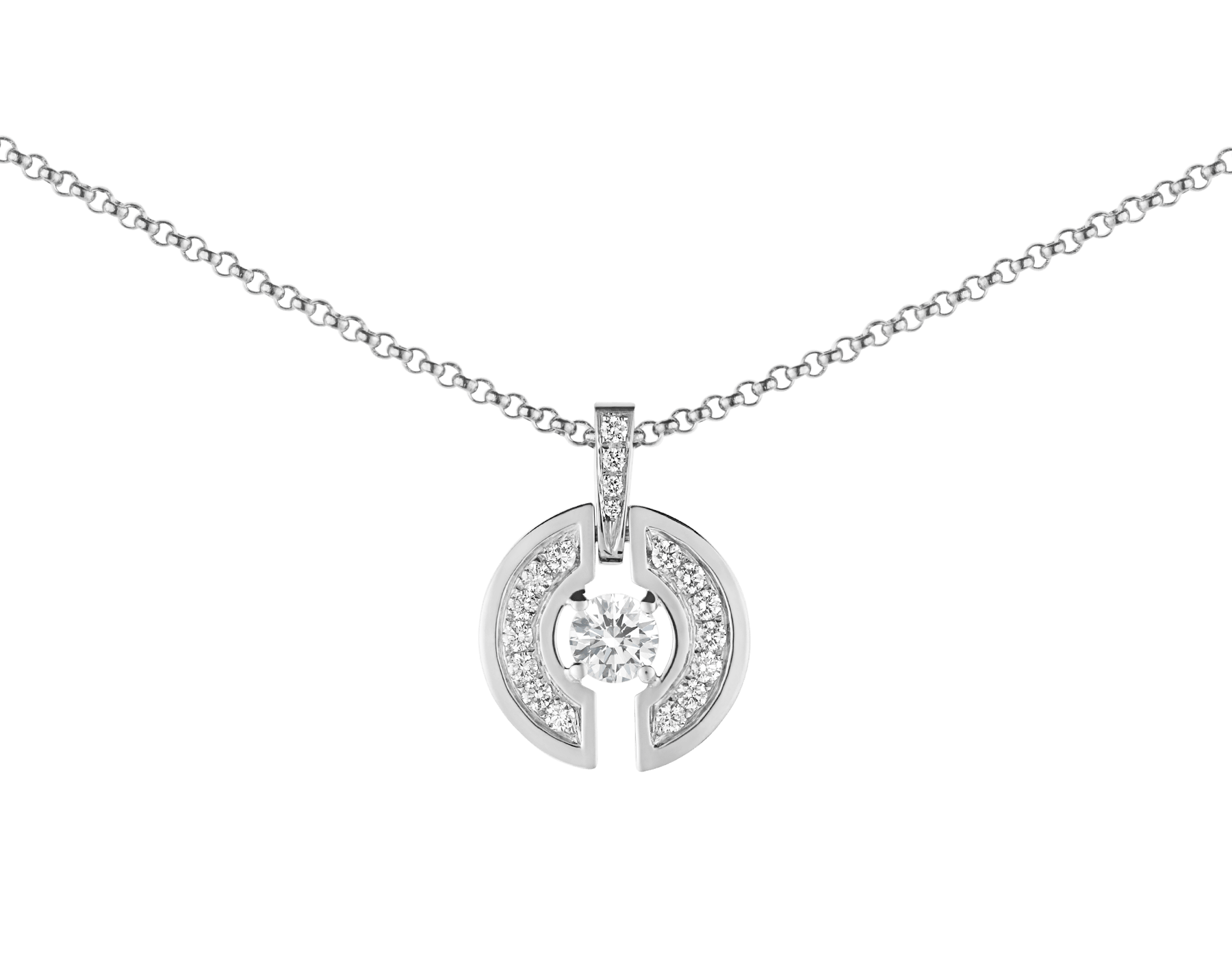 Parentesi necklace with 18 kt white gold chain and pendant, set with a central diamond and pavé diamonds. 354312 image 3