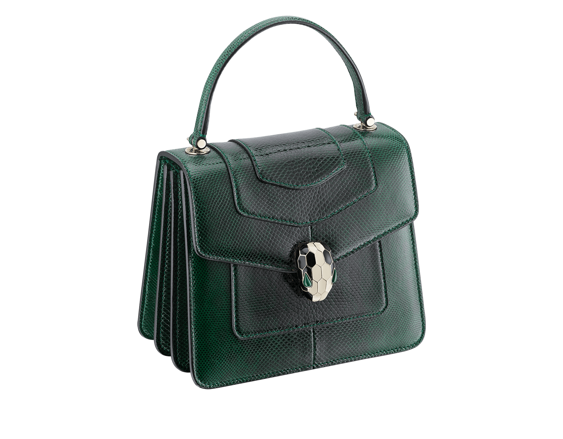 Flap cover bag Serpenti Forever in forest emerald shiny karung skin. Brass light gold plated hardware and snake head closure in black and white enamel with eyes in green malachite. 283517 image 2