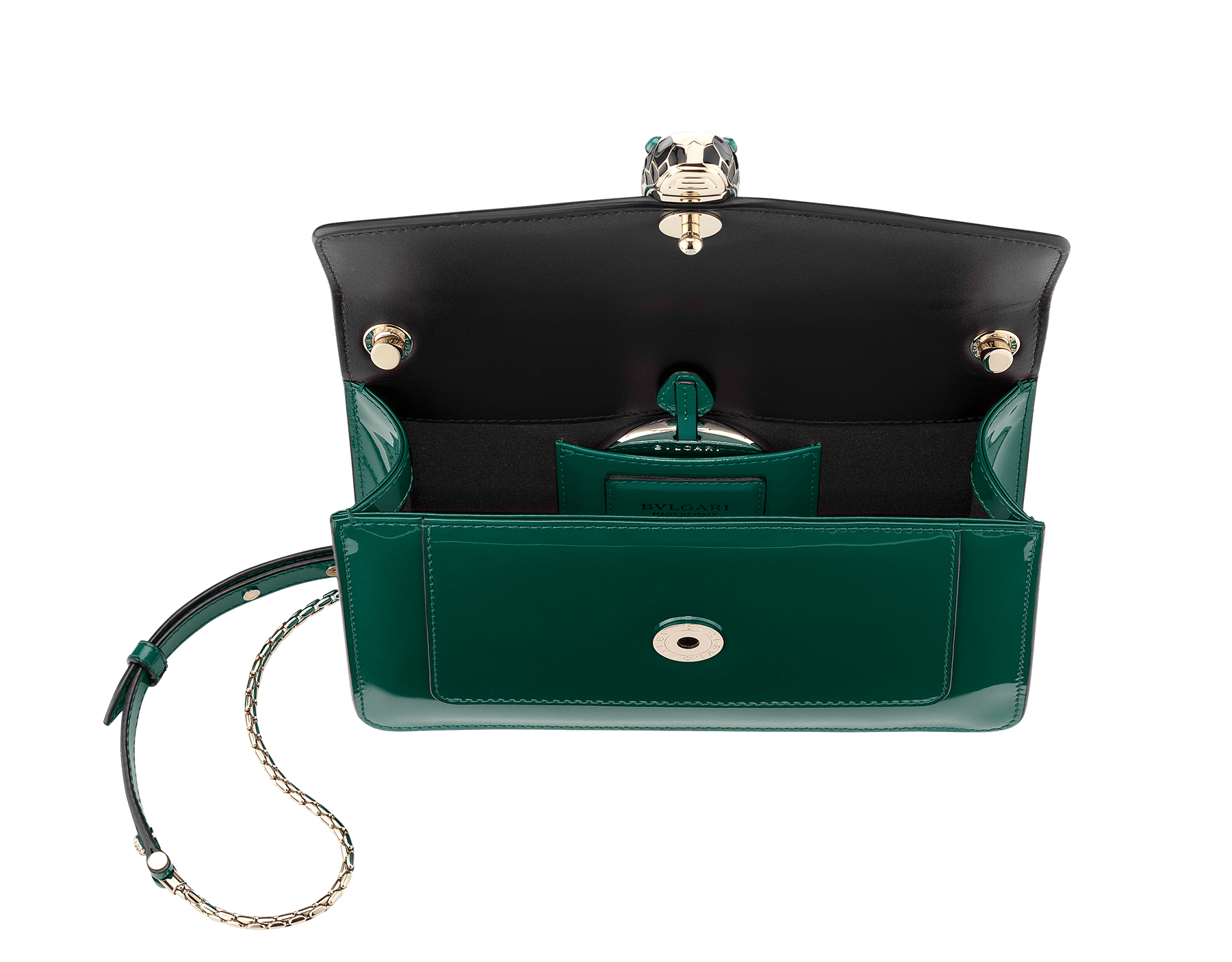 Flap cover bag Serpenti Forever in forest emerald brushed metallic calf leather. Brass light gold plated snake head closure in black and white enamel with eyes in green malachite. 283525 image 2
