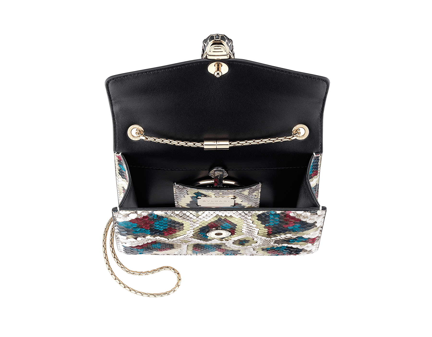 "Borsa a tracolla ""Serpenti Forever"" in pitone multicolore ""Magic Chromaline"". Iconica chiusura ""Serpenti"" in ottone placcato oro chiaro con squame in smalto bianco e nero e occhi in onice nera. 422-Pc image 4"