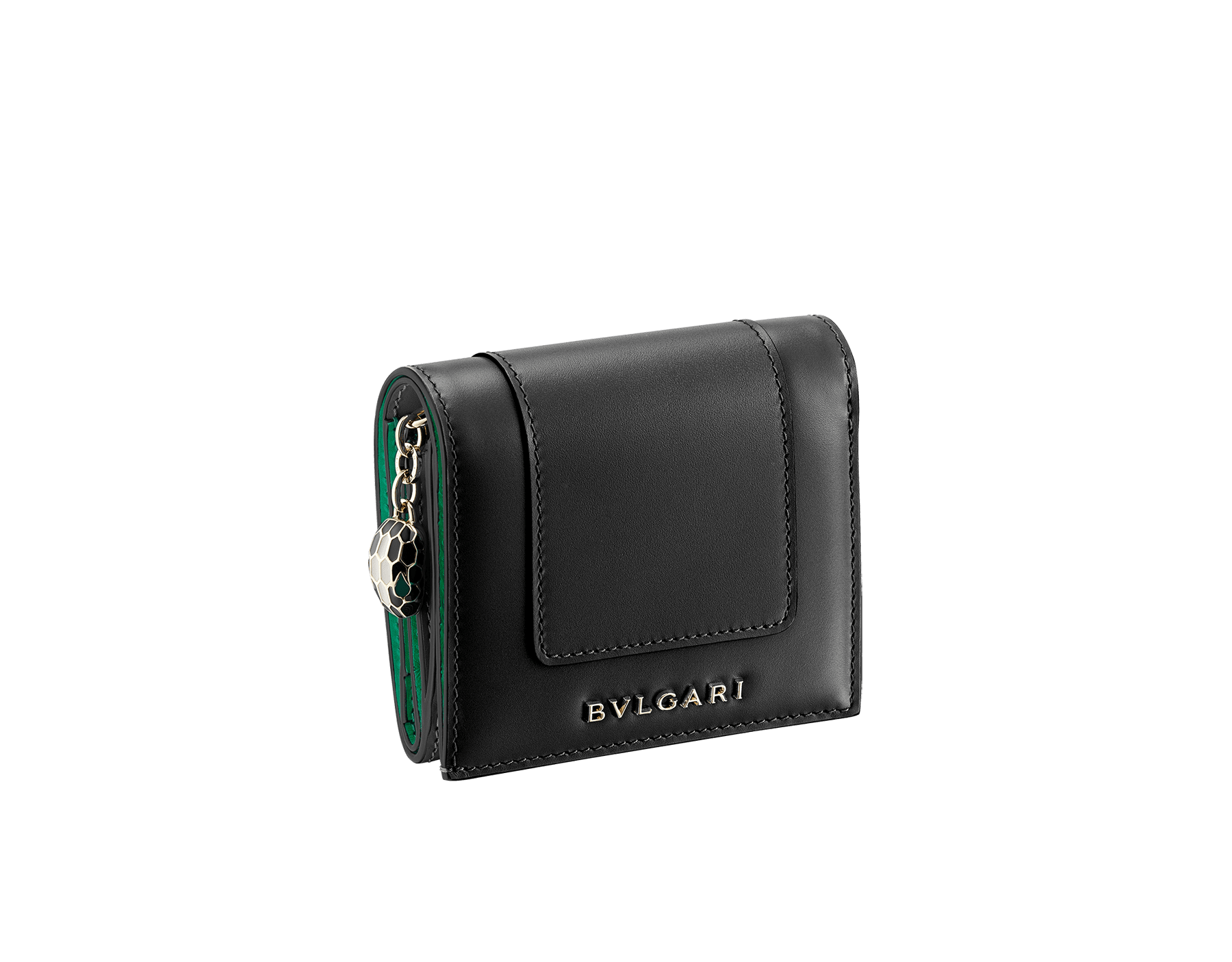 """Serpenti Forever"" super compact wallet in mint and taffy quartz calf leather. Iconic snakehead zip puller in black and white agate enamel, with emerald green enamel eyes. SEA-SUPERCOMPACT-CLb image 1"