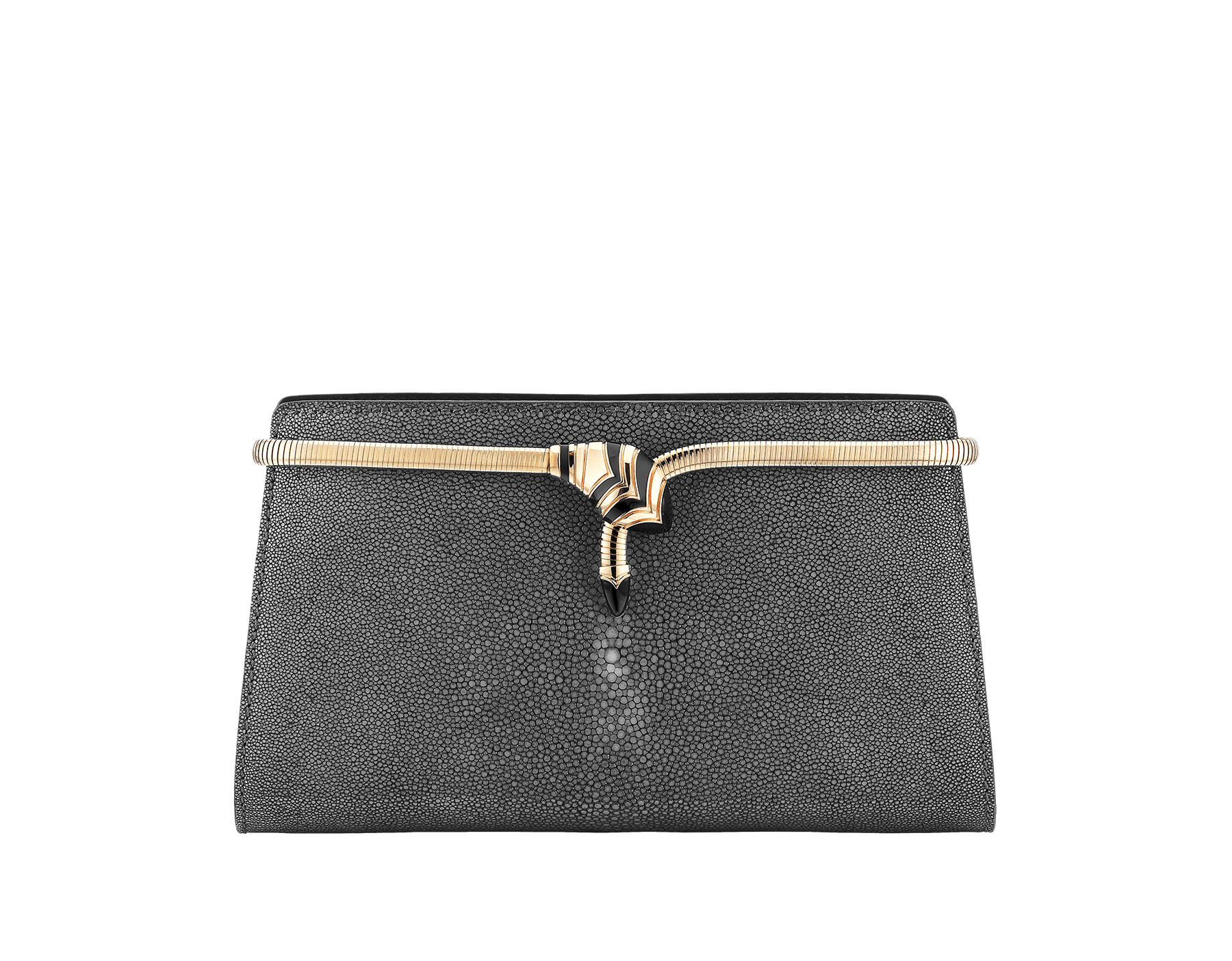 Serpenti Tubogas clutch in black galuchat skin and calf leather. Brass light rose gold plated snake body-shaped frame closure with black enamel. 526-001-0671S image 1