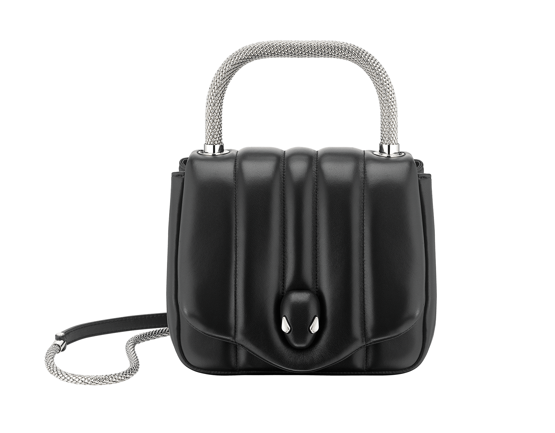 """Ambush x Bvlgari"" top handle bag in black nappa leather. New Serpenti head closure in palladium plated brass dressed with black nappa leather, finished with seductive mother of pearl eyes. Limited edition. 290343 image 1"