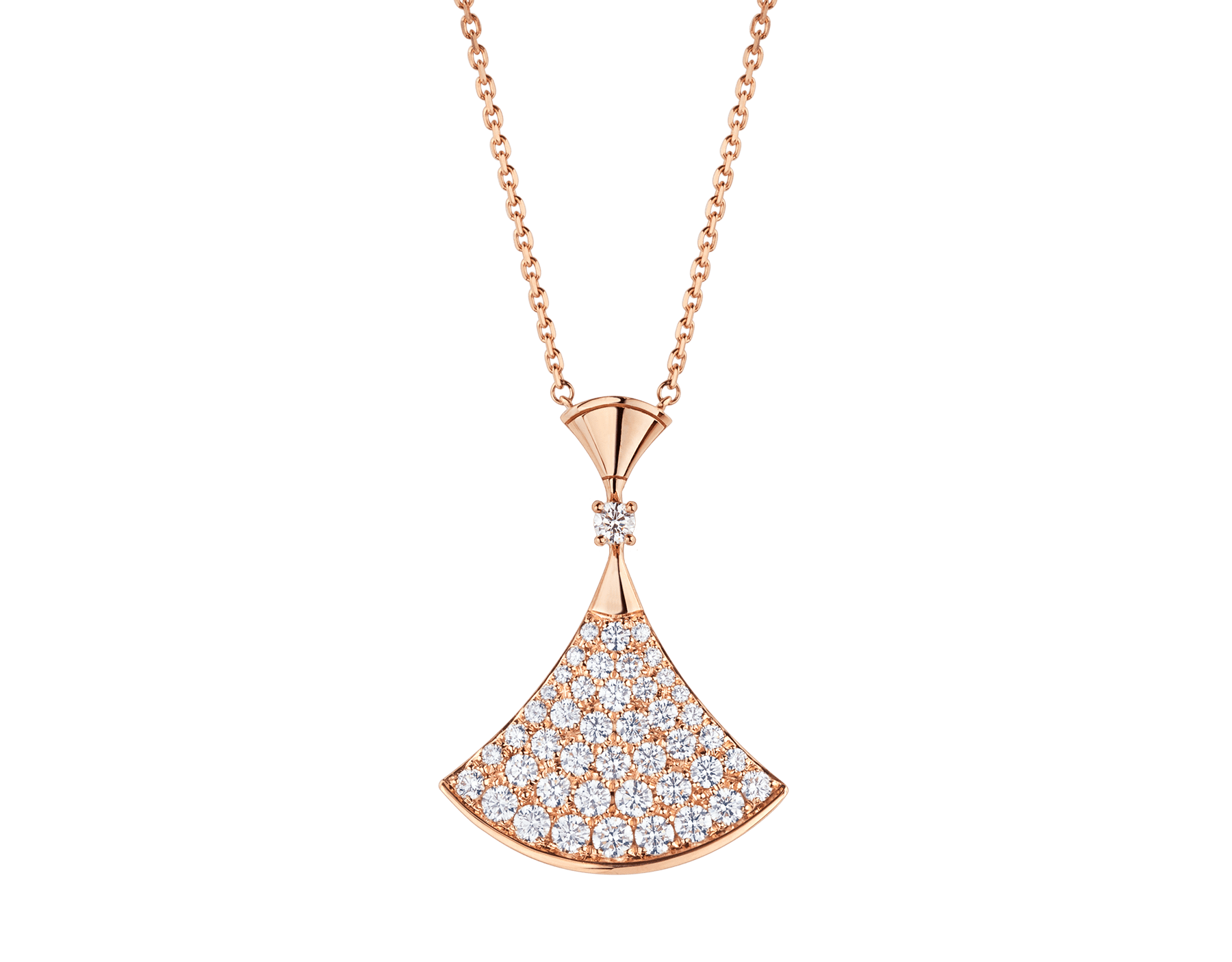 DIVAS' DREAM necklace in 18 kt rose gold with pendant set with one diamond and pavé diamonds. 350067 image 1