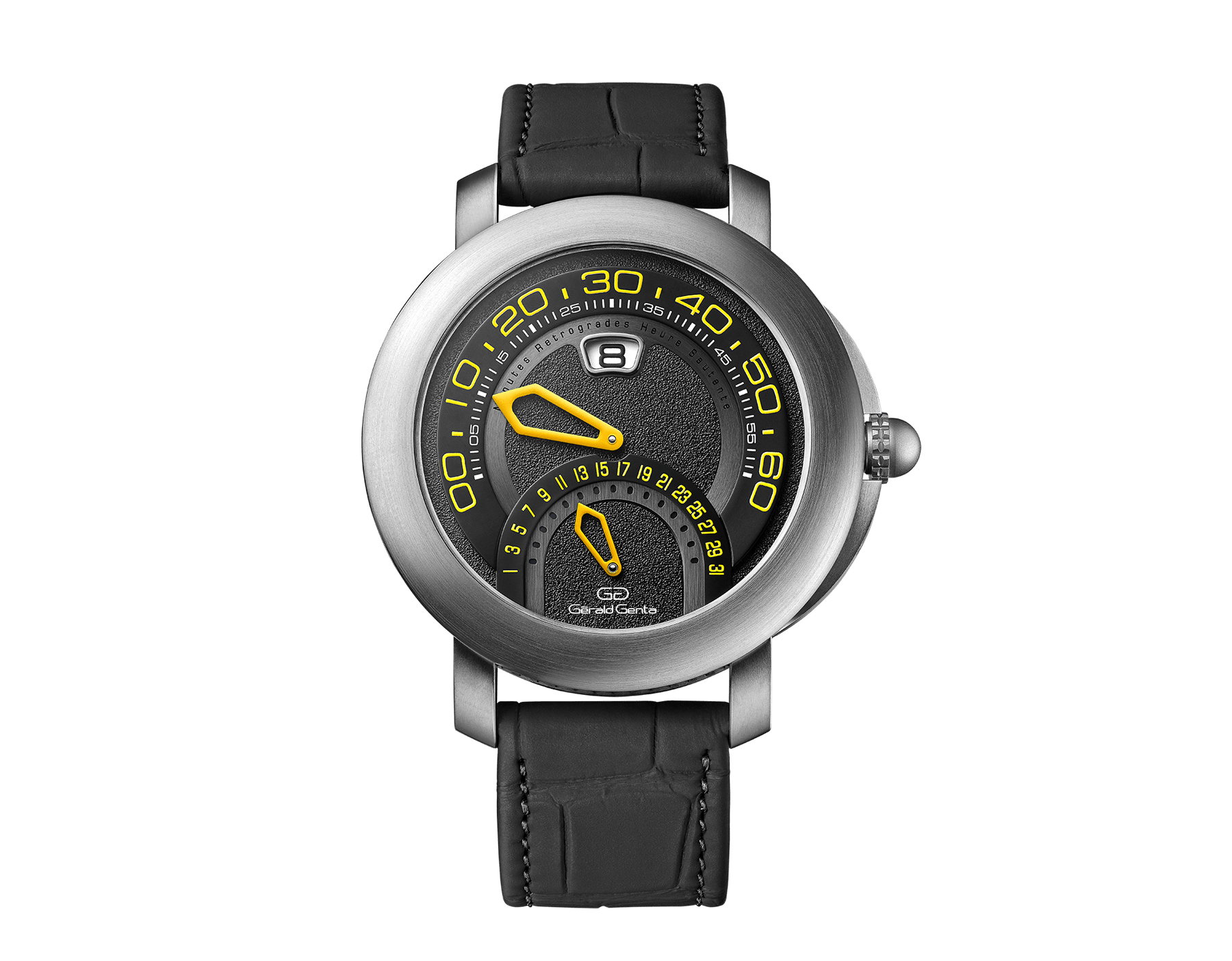 Gérald Genta Arena Bi-Retro Sport watch with mechanical manufacture movement, automatic bidirectional winding, jumping hours, retrograde minutes (210°) and date (180°), 43 mm brushed titanium case, black and anthracite dial and matte black alligator bracelet. Water-resistant up to 100 metres 103448 image 1