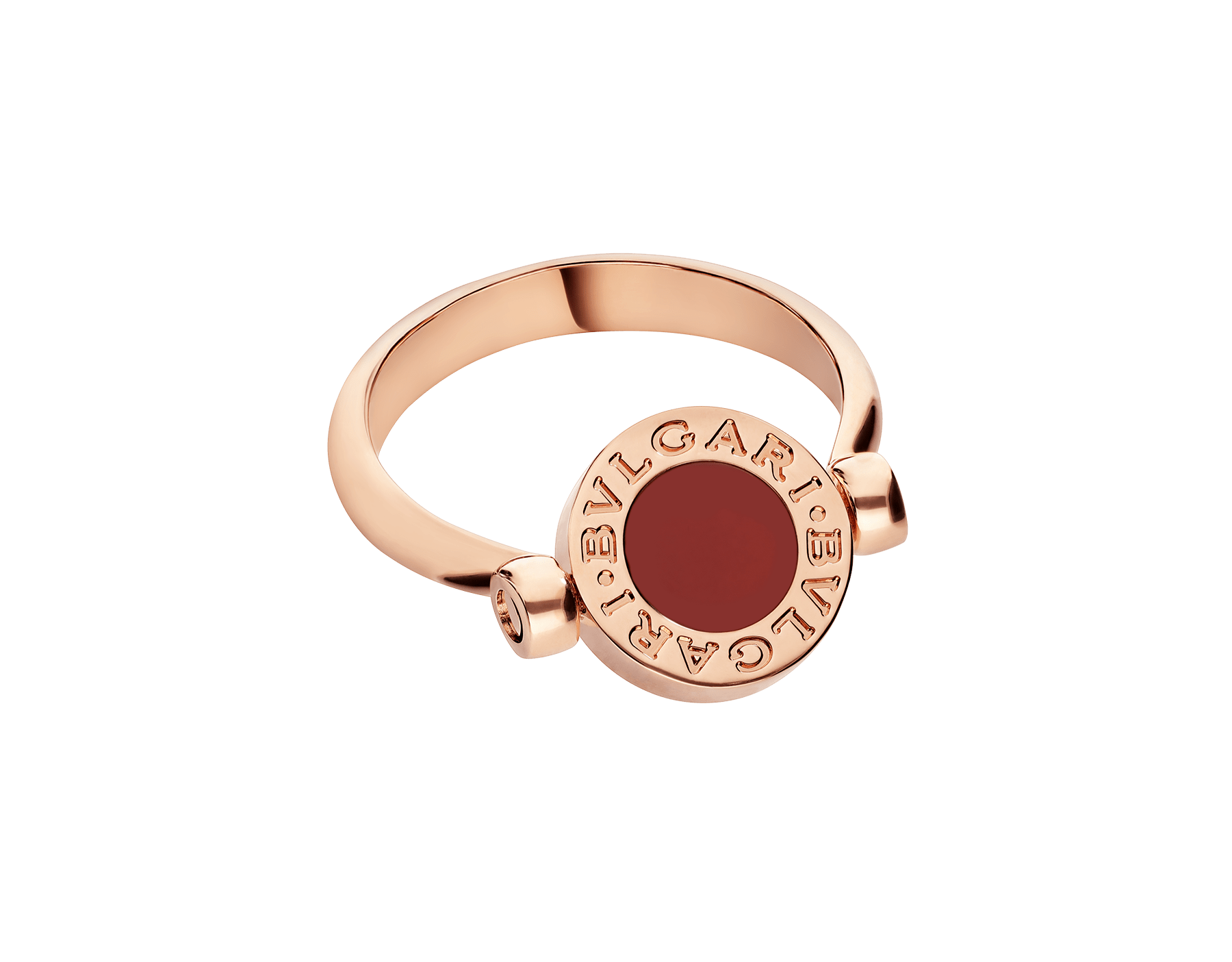 BVLGARI BVLGARI 18 kt rose gold flip ring set with mother-of-pearl and carnelian elements AN858197 image 2