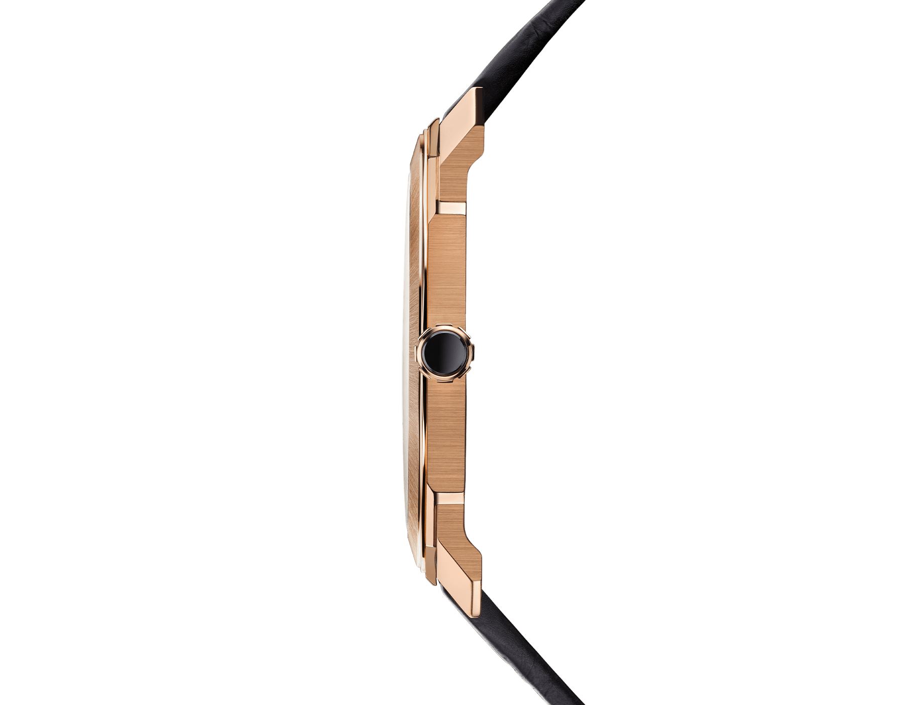 Octo Finissimo Automatic 超薄自動腕錶,搭載機械機芯,自動上鍊,鉑金微型自動盤,小秒針盤。18K 玫瑰金緞面拋光超薄錶殼,透明底蓋。黑色霧面錶盤,黑色鱷魚皮錶帶。防水深度 100 公尺。 103286 image 3