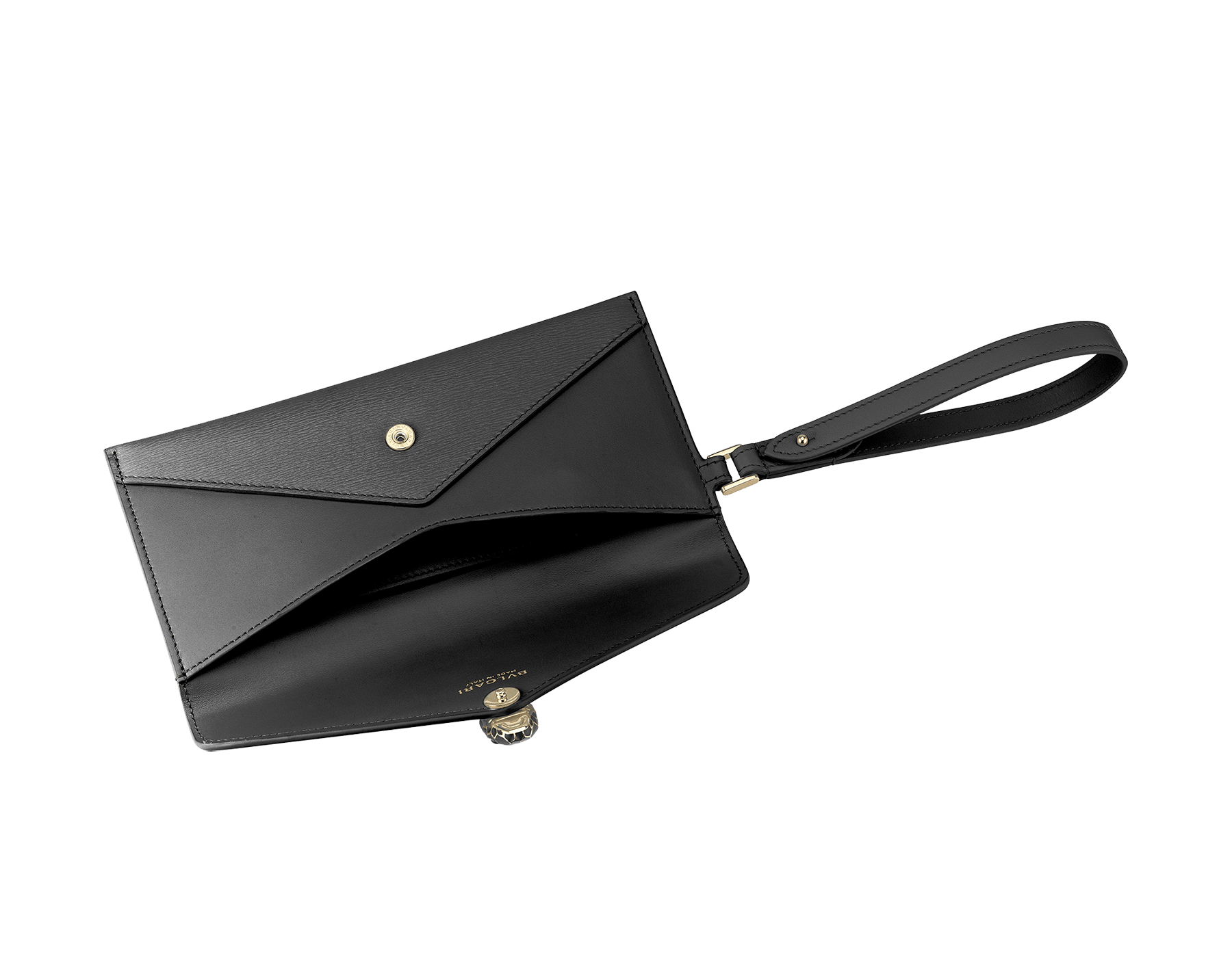 Serpenti Forever envelope pouch in black goatskin and black calf leather. Iconic snake head stud closure in black enamel, with black onyx eyes. 289091 image 2