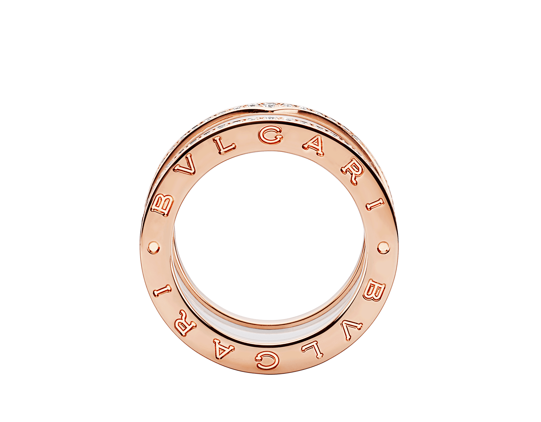 B.zero1 four-band ring with two 18 kt rose gold loops set with pavé diamonds on the edges and a white ceramic spiral. B-zero1-4-bands-AN857030 image 2
