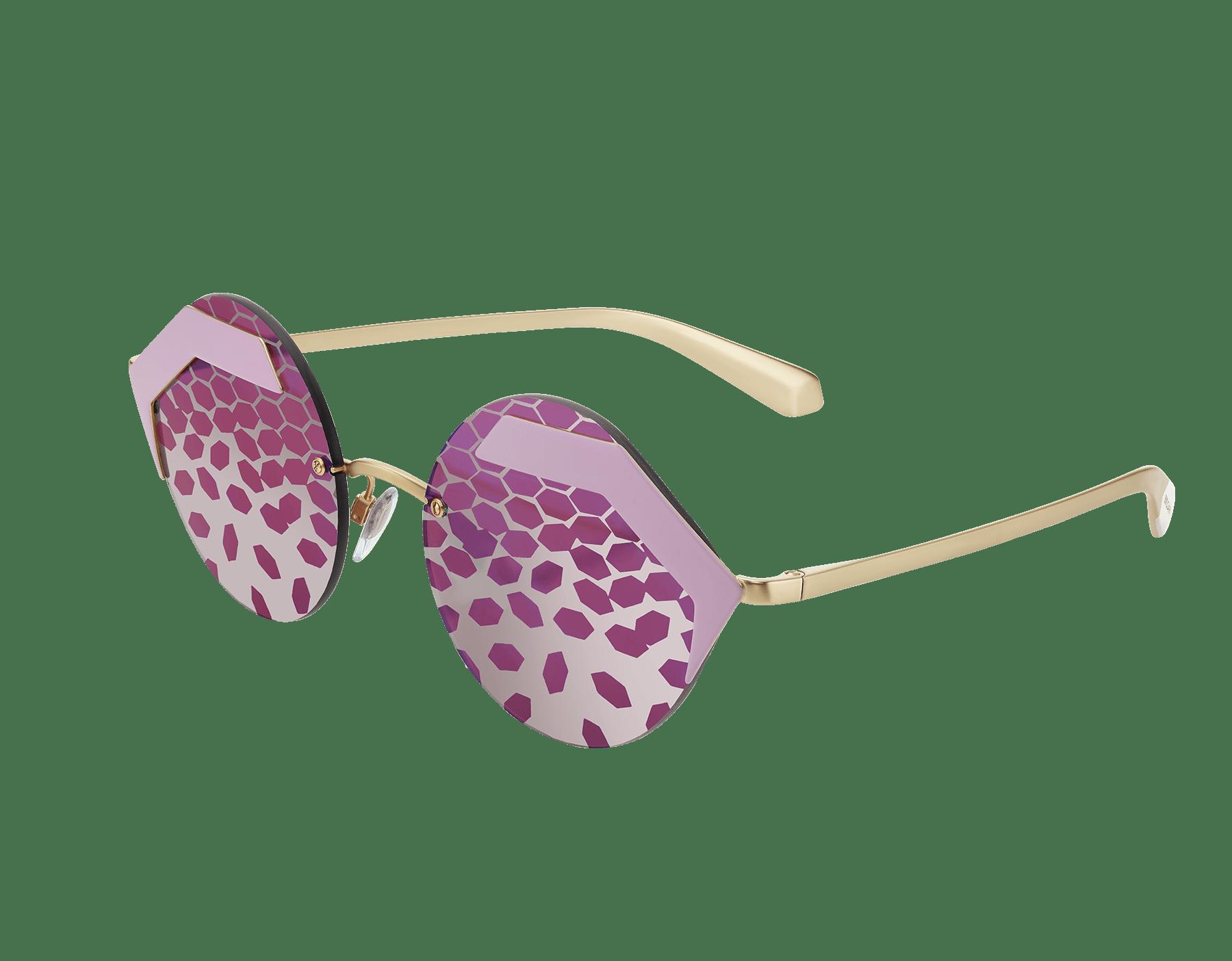Óculos de sol Bulgari Serpenteyes com armação metálica hexagonal e lentes redondas planas. 903425 image 1