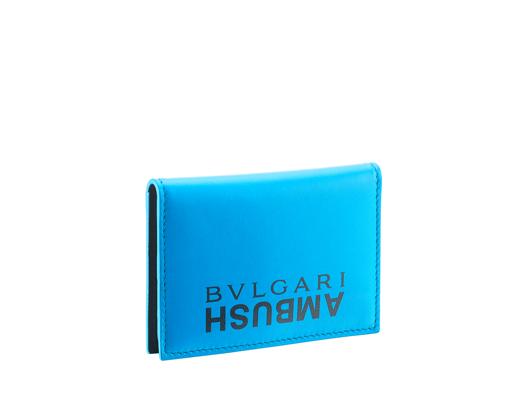 """Ambush x Bvlgari"" vertical card holder in bright blue and black nappa leather, palladium-plated brass ""BVLGARI AMBUSH"" décor on one side and special ""BVLGARI AMBUSH"" logo print on the other. Limited Edition. 290357 image 3"