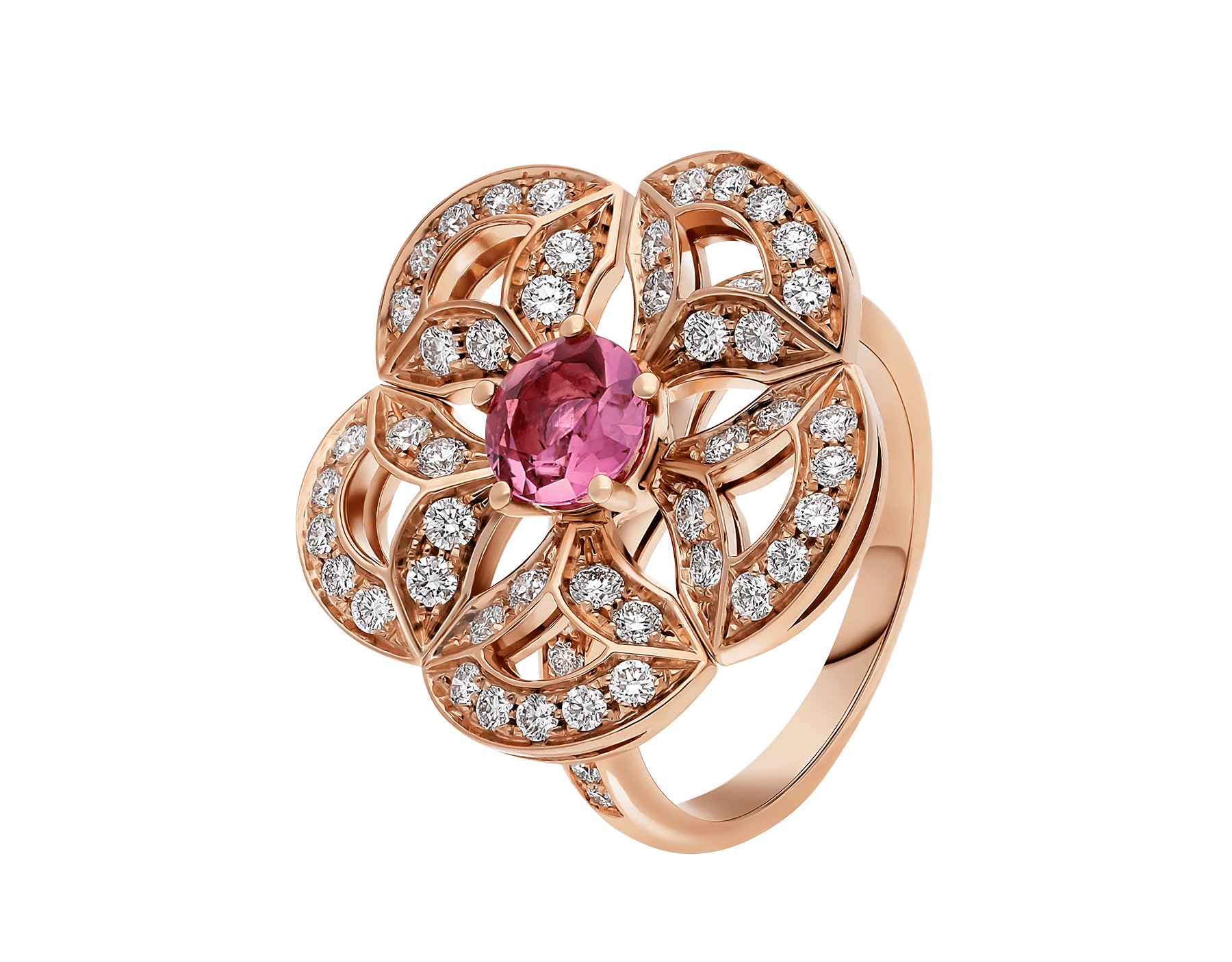 DIVAS' DREAM 18 kt rose gold ring set with a pink tourmaline and pavé diamonds AN858467 image 1