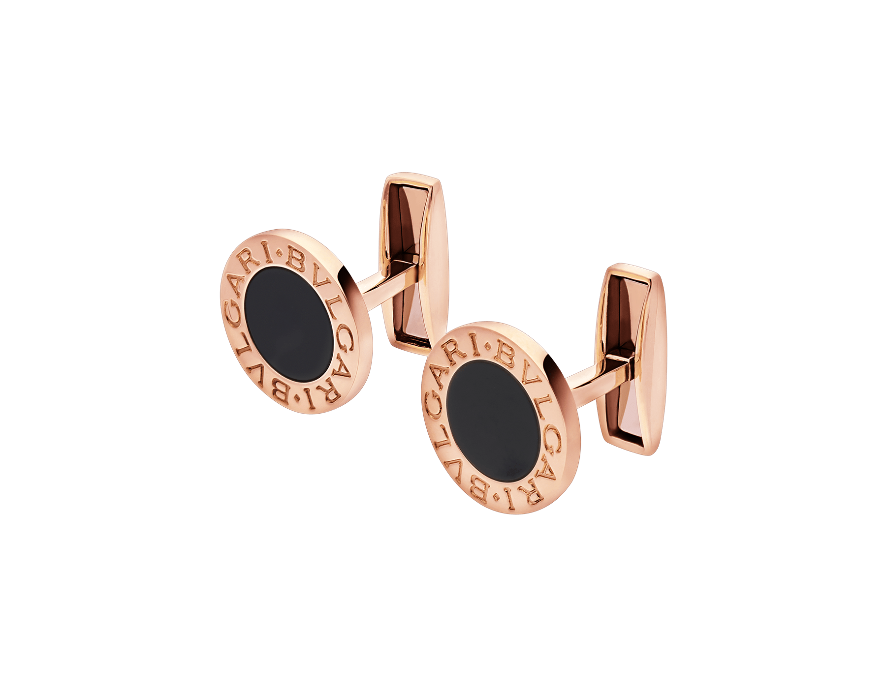 BVLGARI BVLGARI 18kt rose gold cufflinks set with black onyx elements 344429 image 2