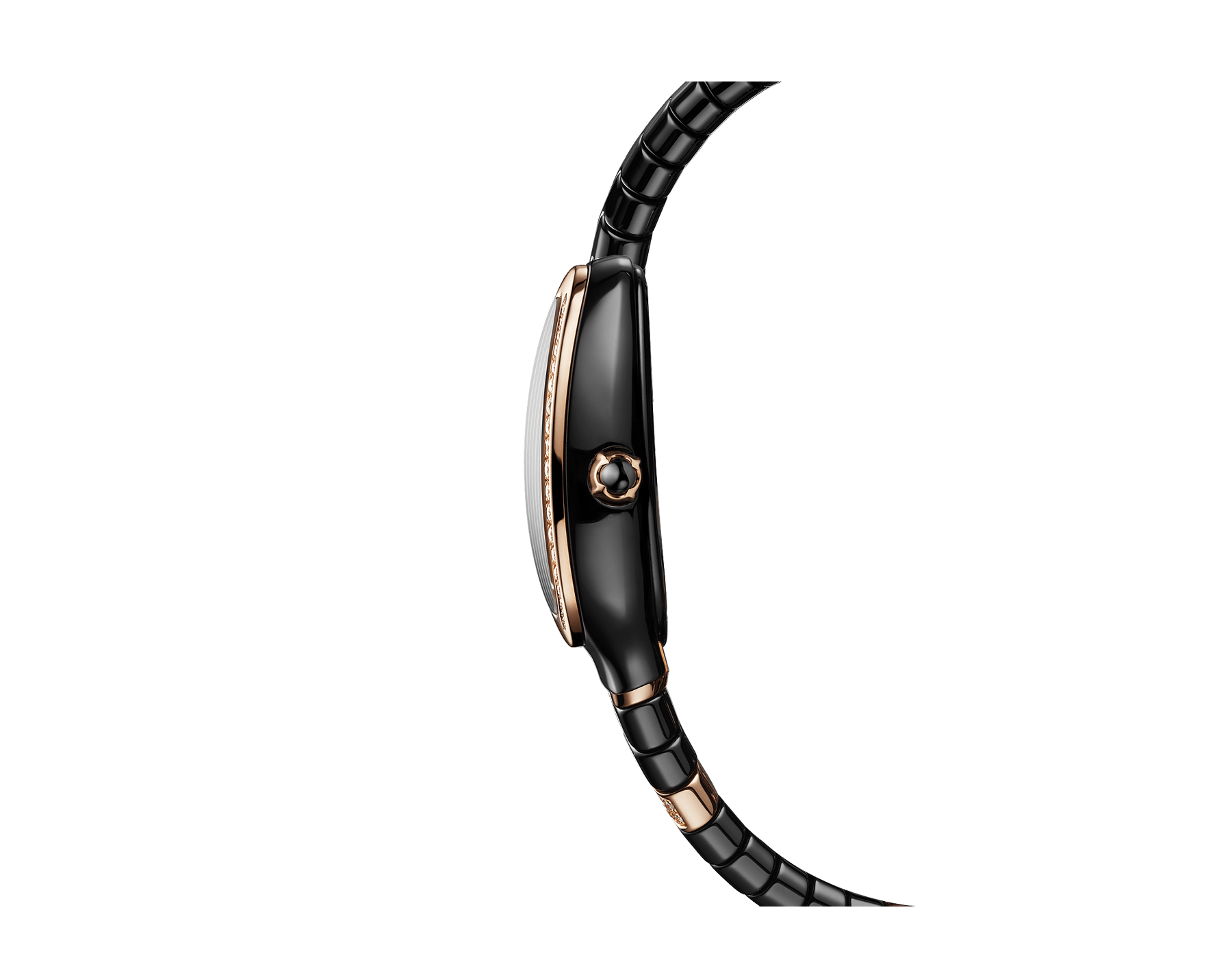 Serpenti Spiga five-spiral watch with black ceramic case, 18 kt rose gold bezel set with diamonds, black lacquered dial, black ceramic bracelet set with 18 kt rose gold elements and diamonds 102888 image 3