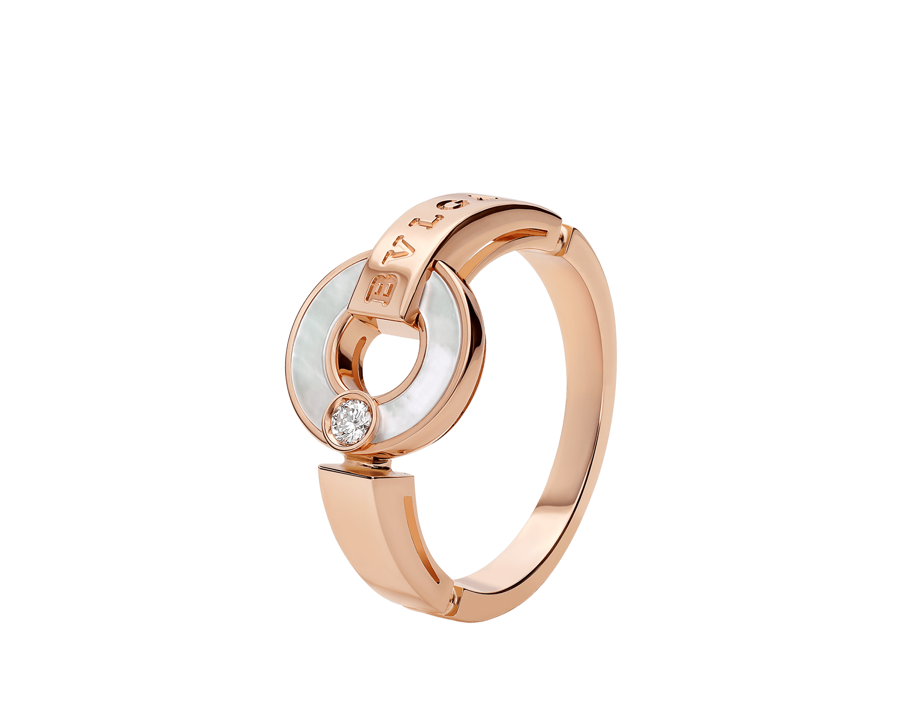 BVLGARI BVLGARI Openwork 18 kt rose gold ring set with mother-of-pearl elements and a round brilliant-cut diamond AN858947 image 1