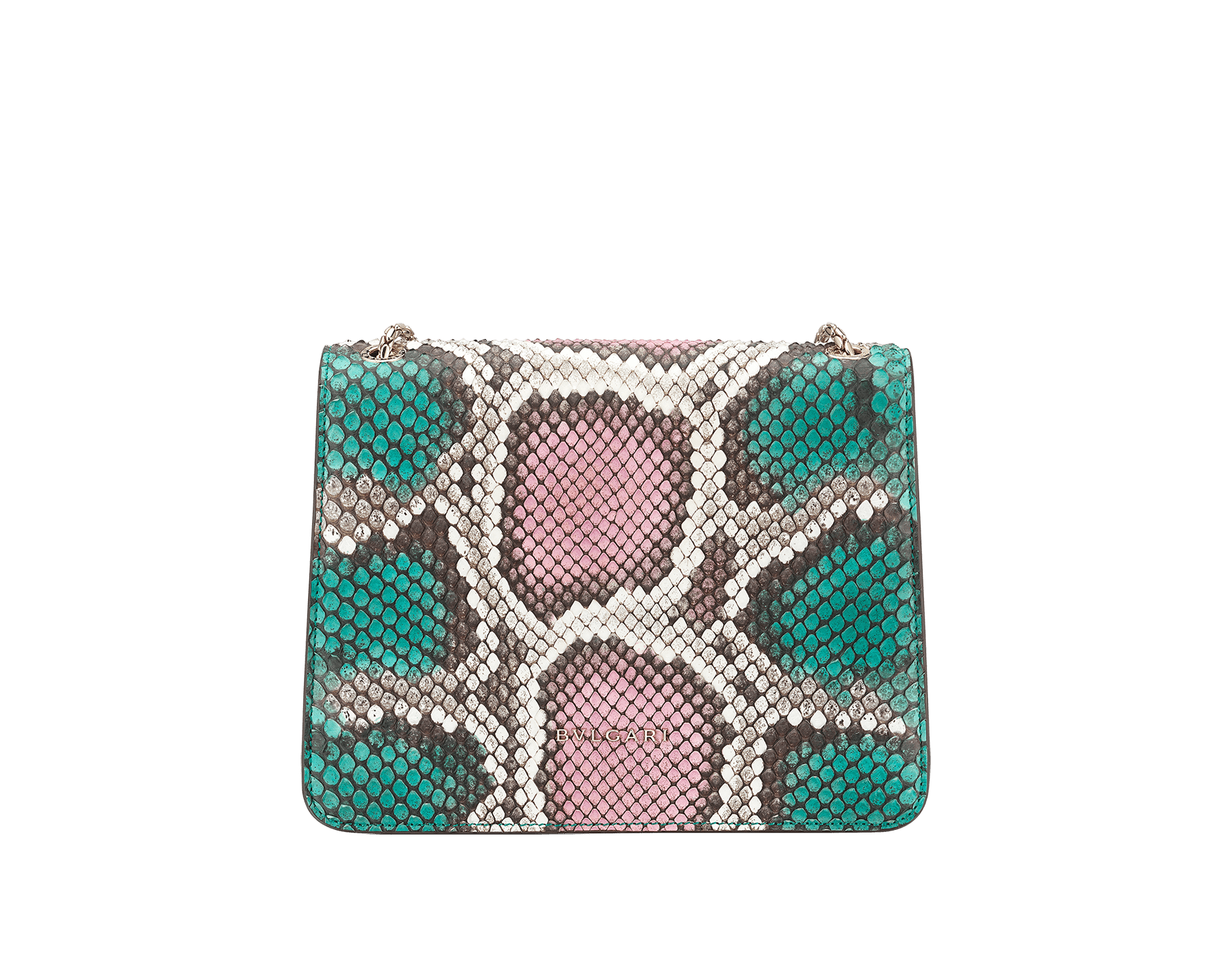 """""""Serpenti Forever"""" crossbody bag in multicolour """"Magic Chromaline"""" python skin. Iconic snakehead closure in light gold plated brass enriched with black and white enamel and black onyx eyes. 422-Pc image 3"""