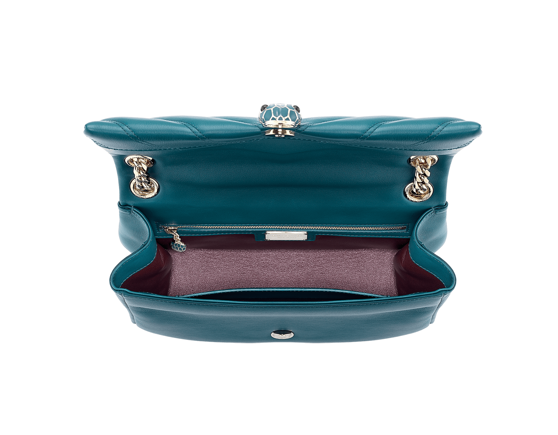 Serpenti Cabochon shoulder bag in soft matelassè deep jade nappa leather, with a graphic motif, and deep jade calf leather. Brass light gold plated tempting snake head closure in matte deep jade and shiny deep jade enamel, with black onyx eyes. 287984 image 5