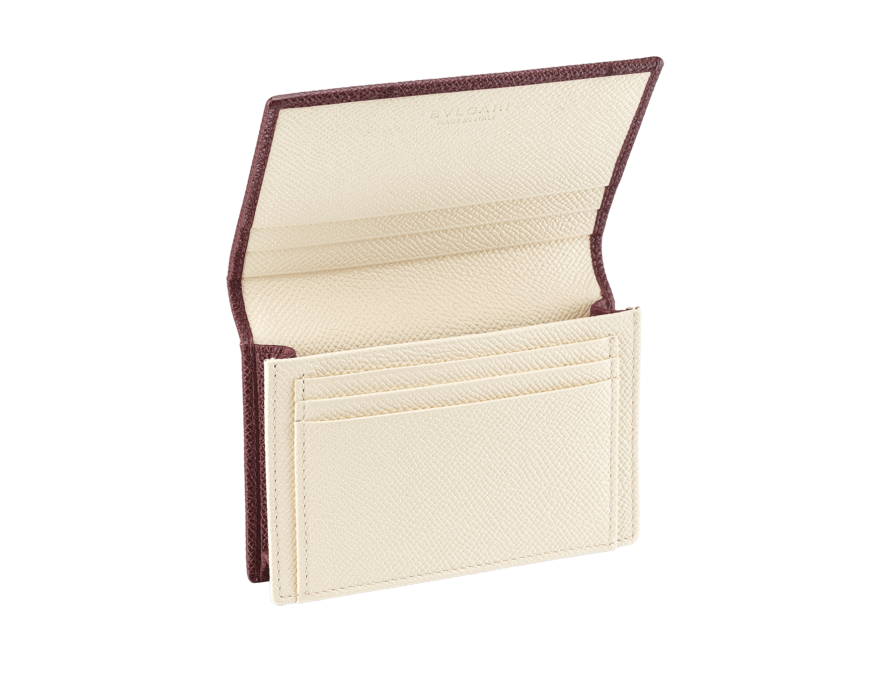 """""""BVLGARI BVLGARI"""" men's business card holder in Oxblood bordeaux and Ivory Opal white grain calf leather. Palladium-plated brass embellishment with logo. 291149 image 2"""