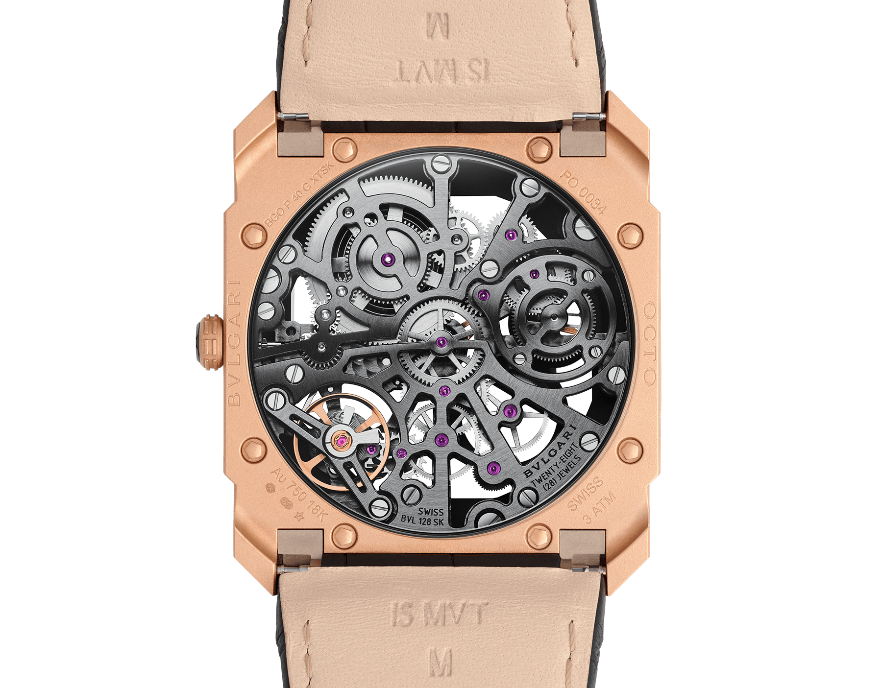 Octo Finissimo Skeleton watch with mechanical skeletonized manufacture movement, manual winding, small seconds, power reserve indication, extra-thin 18 kt sandblasted rose gold case, skeletonized dial and black alligator bracelet 102946 image 4