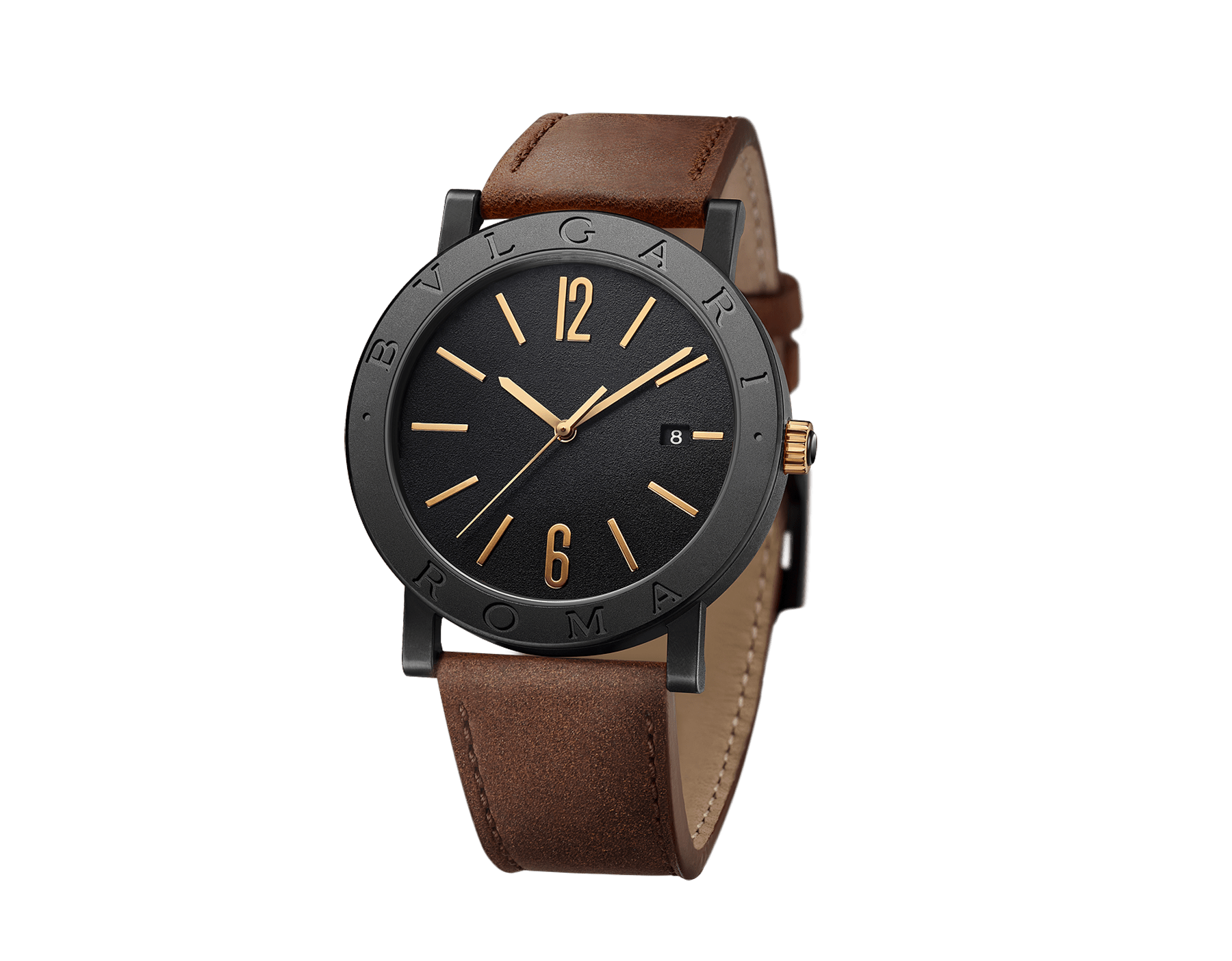 BVLGARI BVLGARI 城市特別版「羅馬」腕錶,搭載機械機芯,自動上鍊。精鋼錶殼,黑色 DLC 類鑽碳高耐磨鍍膜。錶圈鐫刻 BVLGARI ROMA 字樣,透明底蓋。黑色漆面錶盤,玫瑰金時標。棕色小牛皮錶帶,可換式黑色橡膠錶帶。 103219 image 3