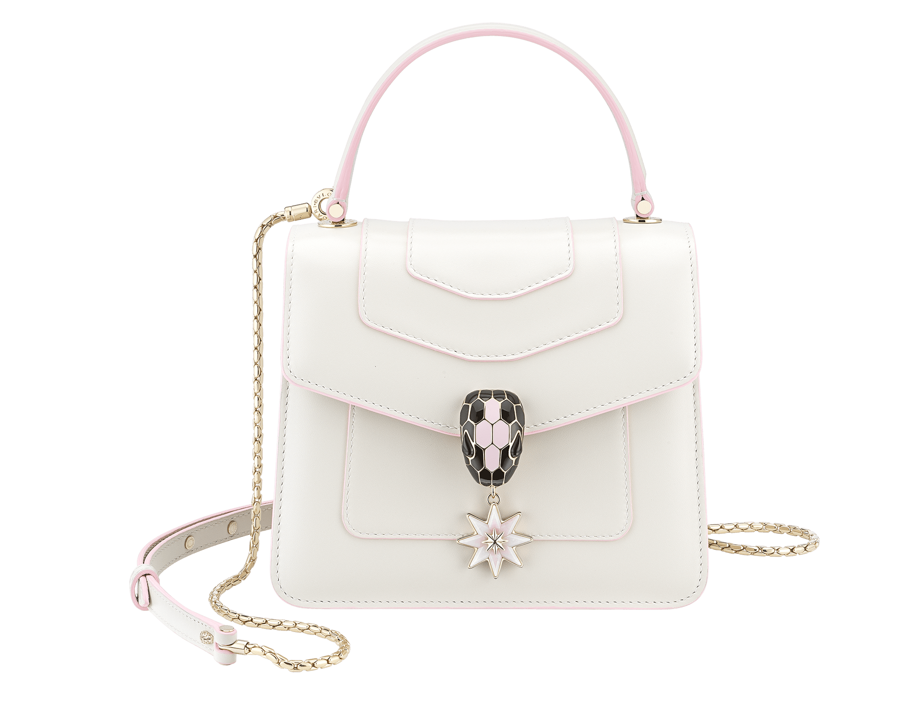 Serpenti Forever Holiday Season crossbody bag in white agate calf leather, bronze and silver brushed metallic calf leather. Snakehead closure in light gold plated brass embellished with black and sakura pink enamel, black onyx eyes and a pink opal eight-pointed star charm. 289372 image 1