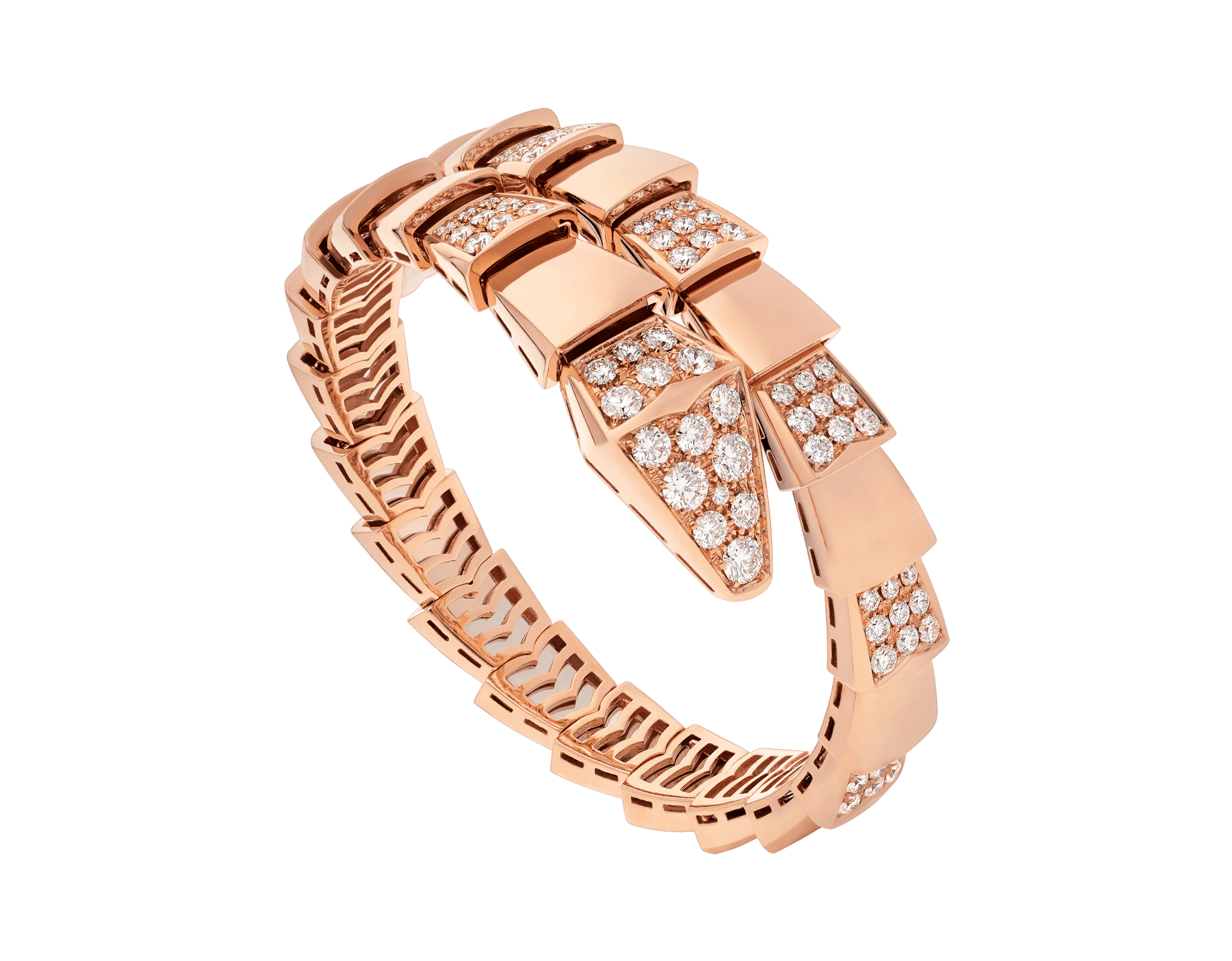 Serpenti Viper one-coil bracelet in 18 kt rose gold, set with demi pavé diamonds. BR855312 image 1