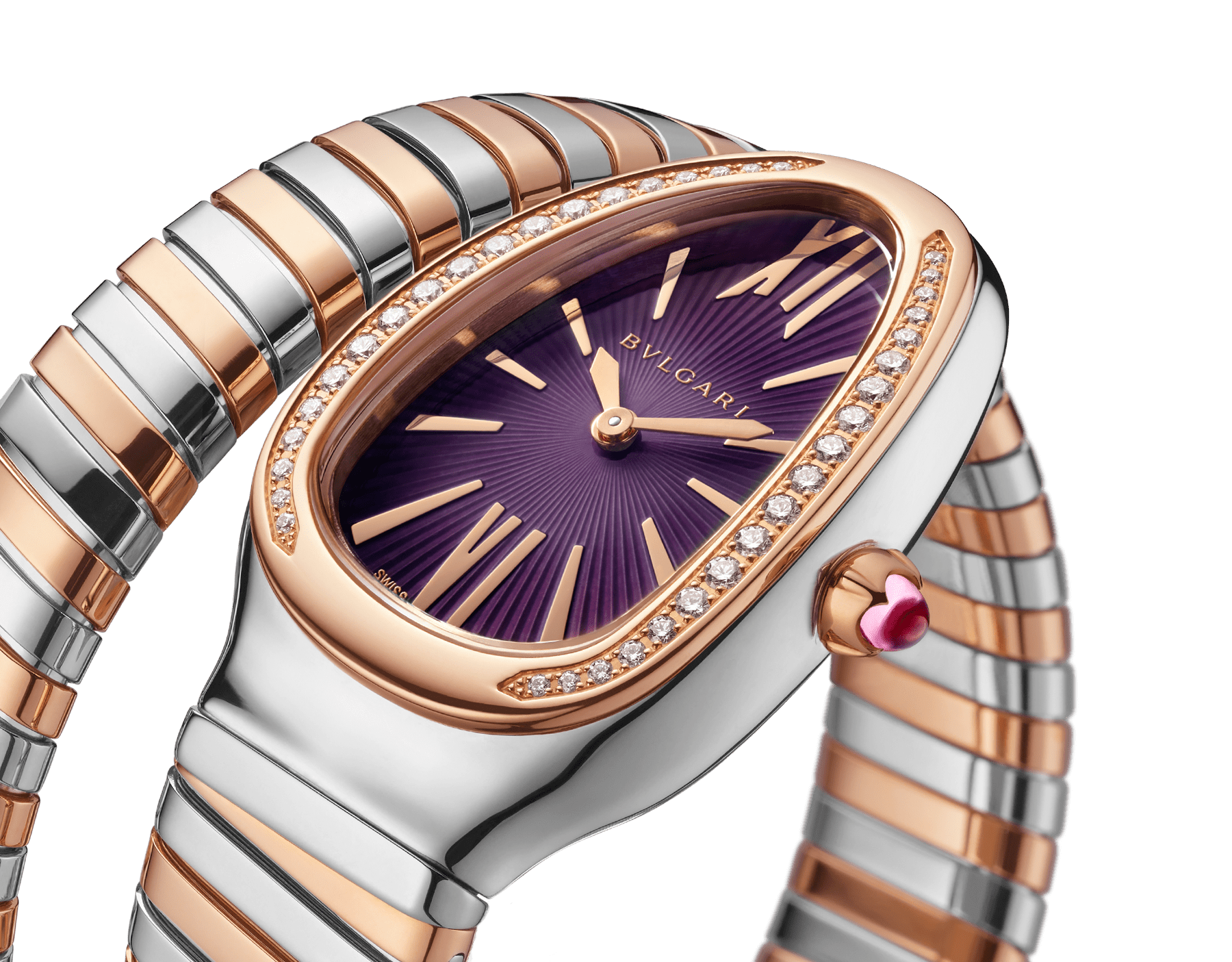 Serpenti Tubogas single spiral watch with stainless steel case, 18 kt rose gold bezel set with brilliant cut diamonds, violet lacquered dial, 18 kt rose gold and stainless steel bracelet. 102493 image 3