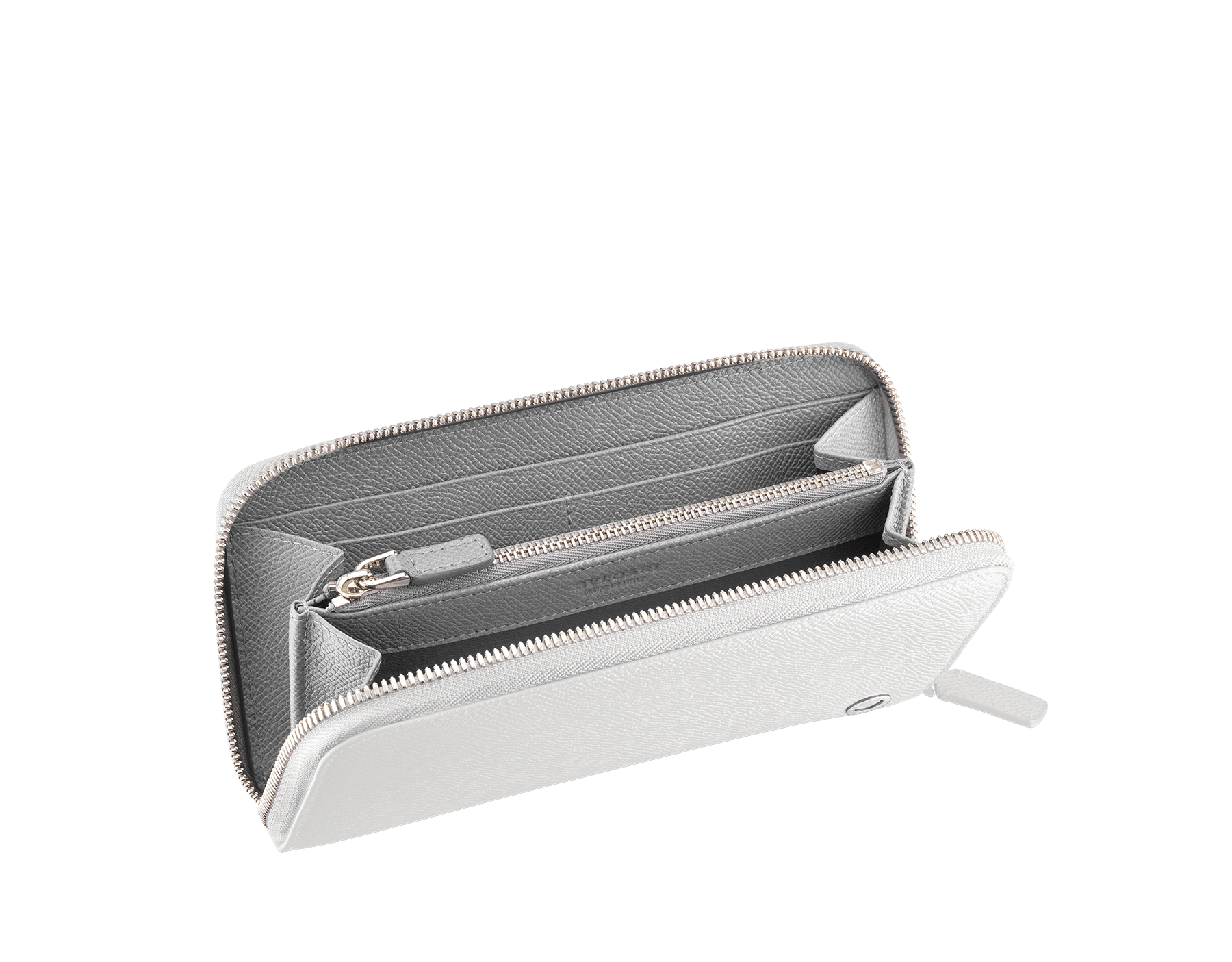BVLGARI BVLGARI man zipped wallet in white agate and pluto stone grain calf leather and iron stone nappa lining. Iconic logo décor in palladium plated brass. 288255 image 2
