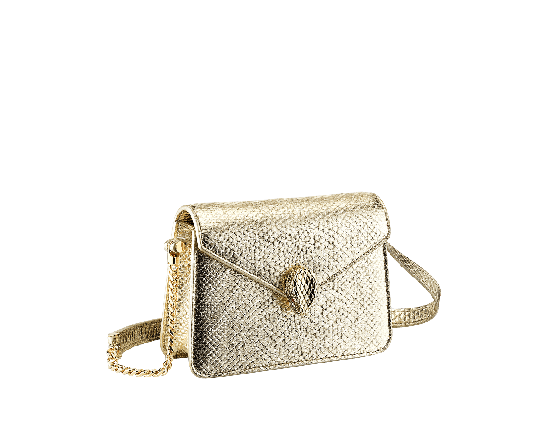 """Serpenti Forever"" mini bag in ""Molten"" light gold karung skin with black nappa leather inner lining, offering a touch of radiance for the Winter Holidays. New Serpenti head closure in light gold-plated brass, complete with ruby-red enamel eyes. Winter Holidays Edition SEA-MINICROSSBODY image 1"