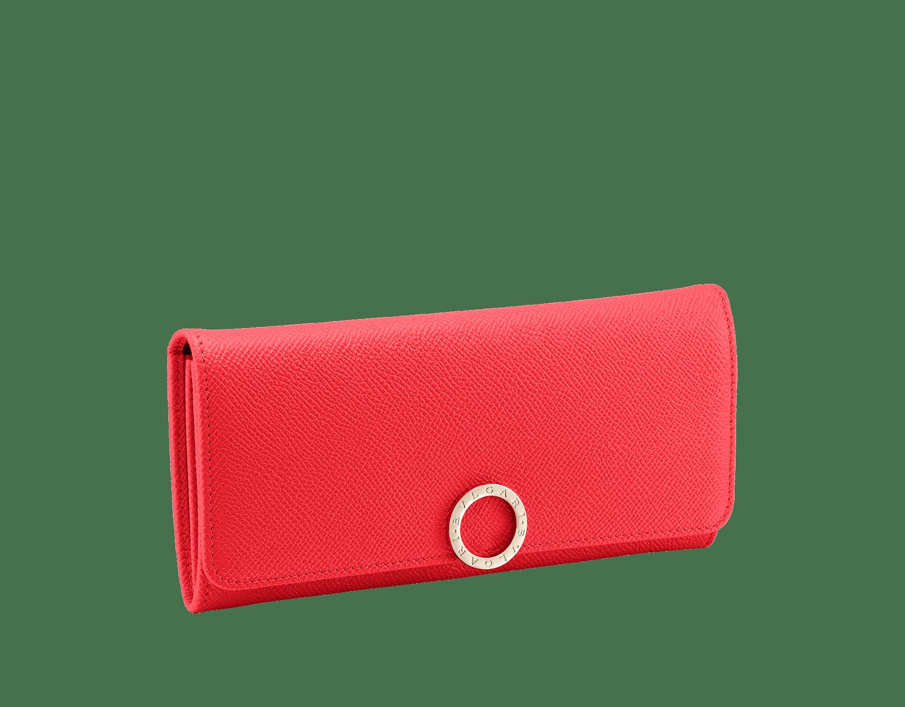 Pochette-portefeuille BVLGARI BVLGARI en cuir de veau grainé couleur Sea Star Coral et cuir nappa couleur Pink Spinel. Fermoir emblématique orné du logo Bvlgari en laiton doré. 288180 image 1