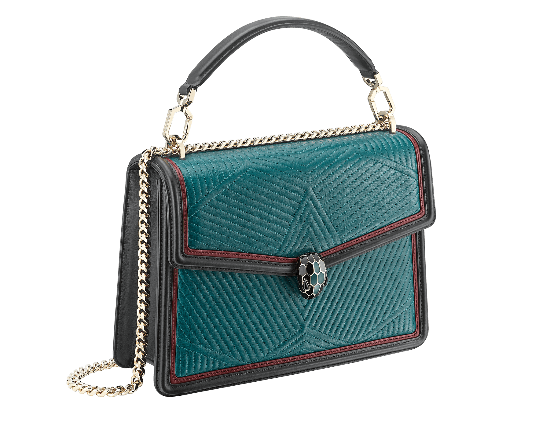 """Serpenti Diamond Blast"" shoulder bag in deep jade quilted nappa leather body and roman garnet and black calf leather frames. Iconic snakehead closure in light gold plated brass enriched with deep jade and black enamel and black onyx eyes. 287973 image 2"