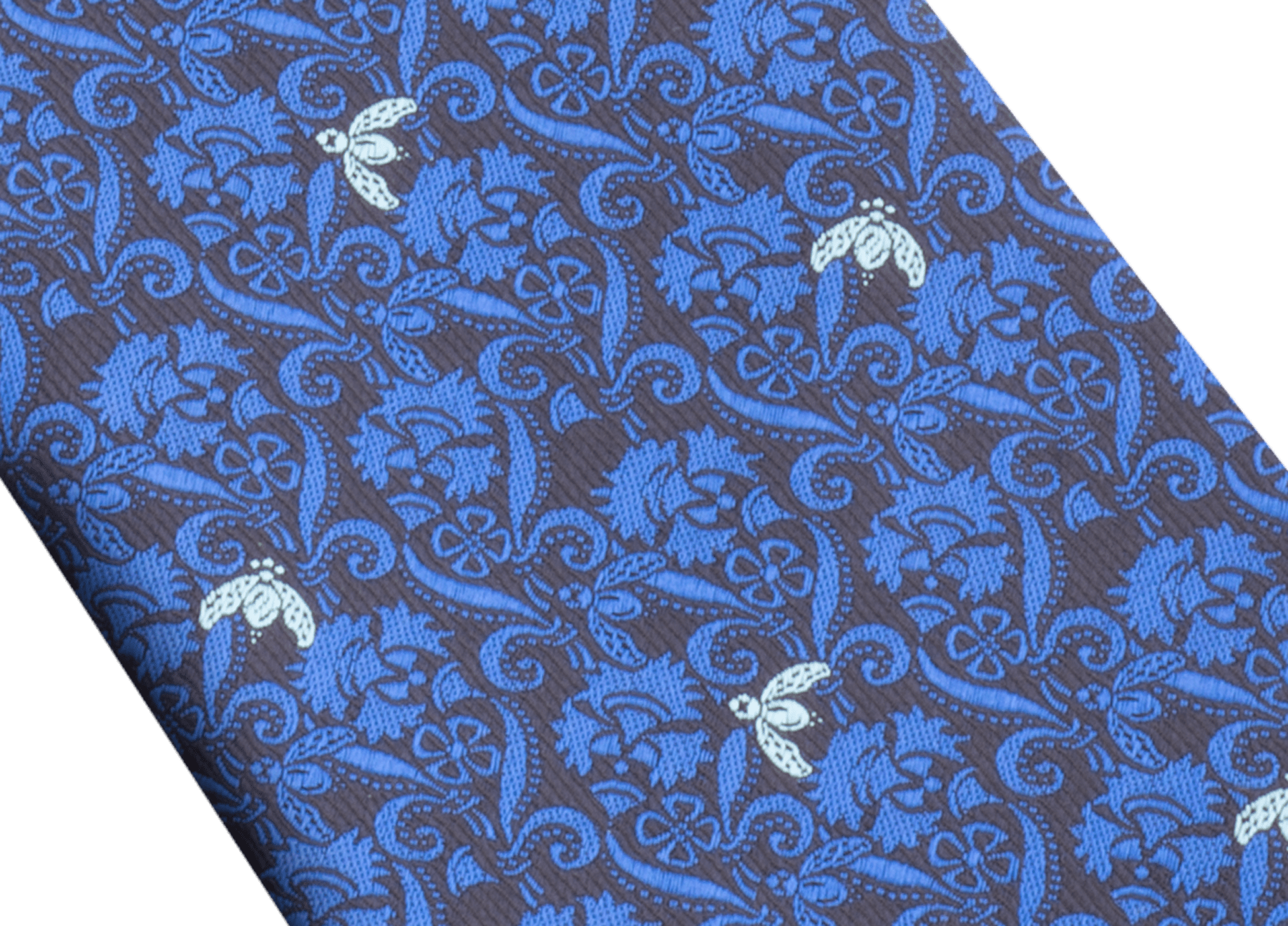 Cravate sept plis Bee Lux bleue en jacquard de soie fine. 244077 image 2