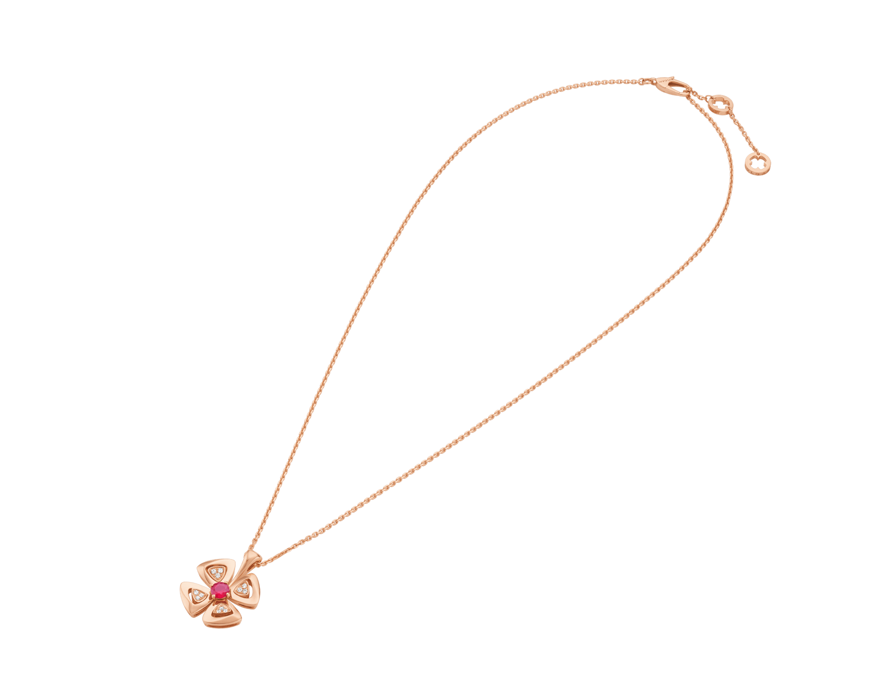 Fiorever 18 kt rose gold pendant necklace set with a central ruby (0.30 ct) and pavé diamonds. Special Edition 357759 image 2