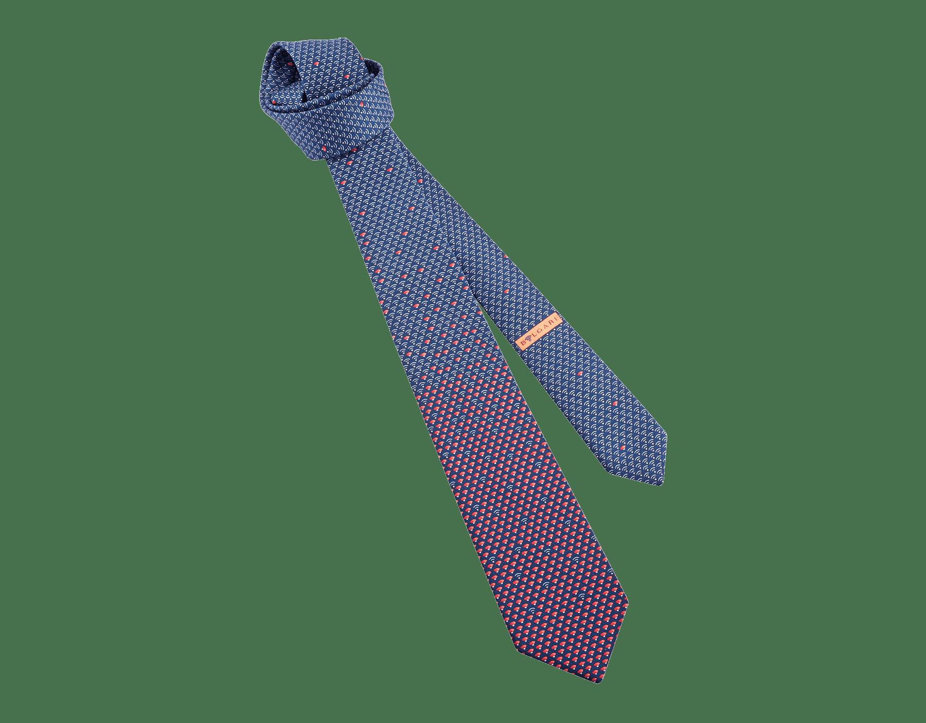 """Siebenfach gefaltete rote Krawatte mit """"WI Diva"""" Muster aus feiner, bedruckter Saglione-Seide. 243640 image 1"""