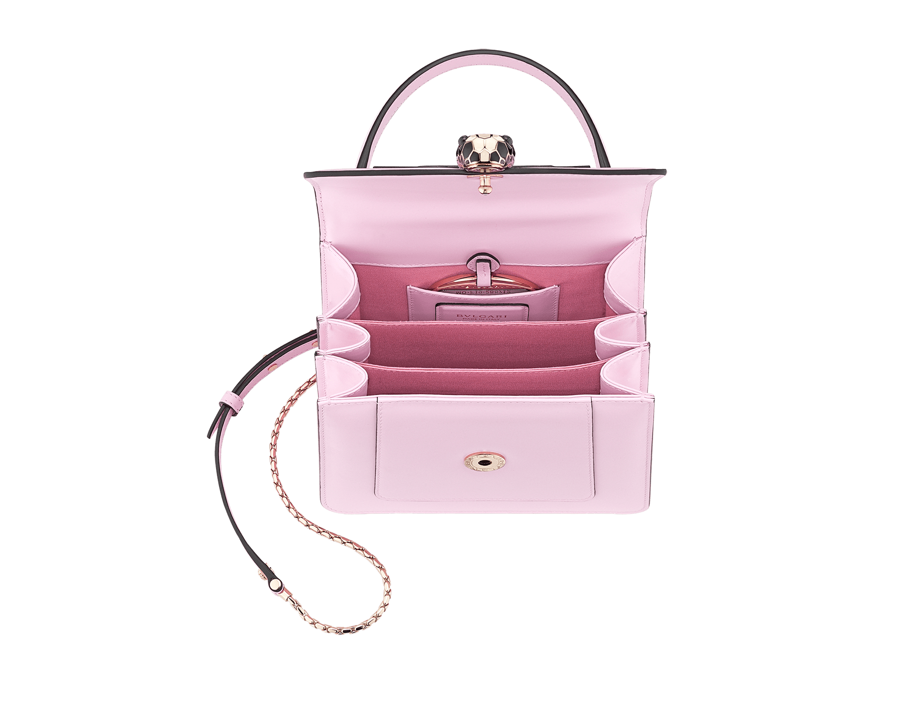 Serpenti Forever crossbody bag in rosa di francia calf leather. Iconic snakehead closure in light gold plated brass embellished with black and white enamel and green malachite eyes. 288712 image 4