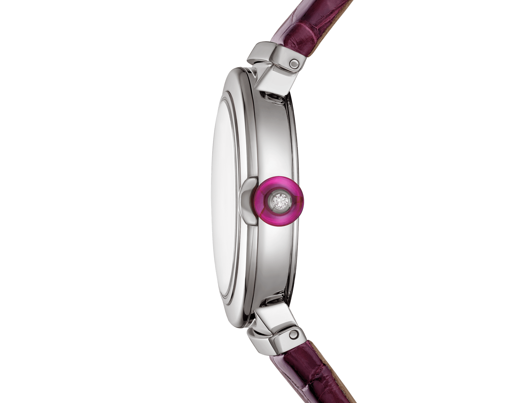 LVCEA watch with stainless steel case, violet dial and purple alligator bracelet. 102566 image 3