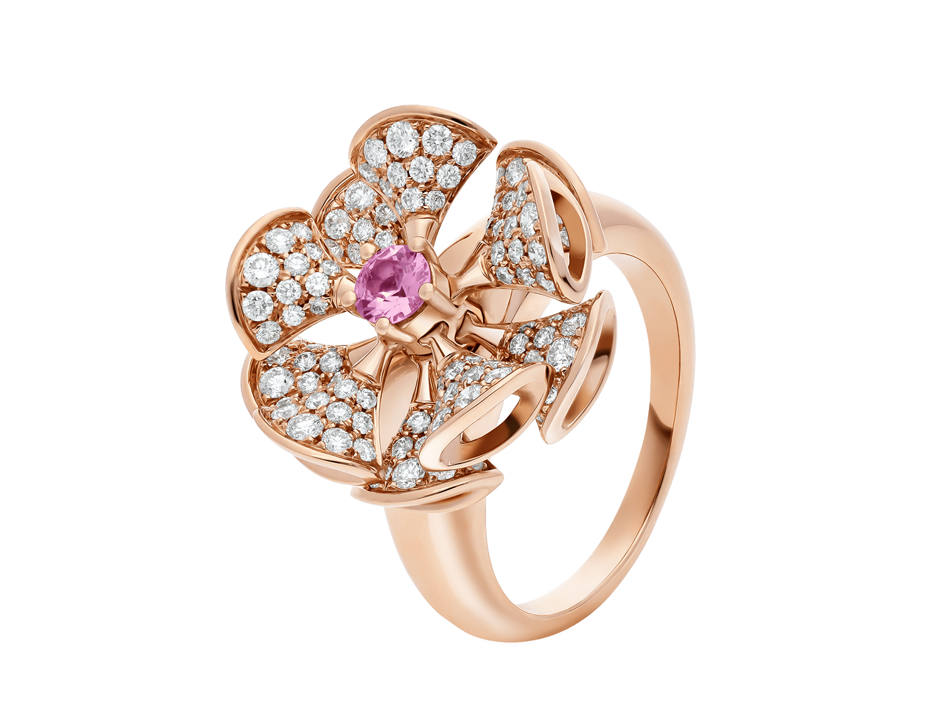 DIVAS' DREAM ring in 18 kt rose gold, set with a central pink sapphire and pavé diamonds (0.90 ct). AN857987 image 1