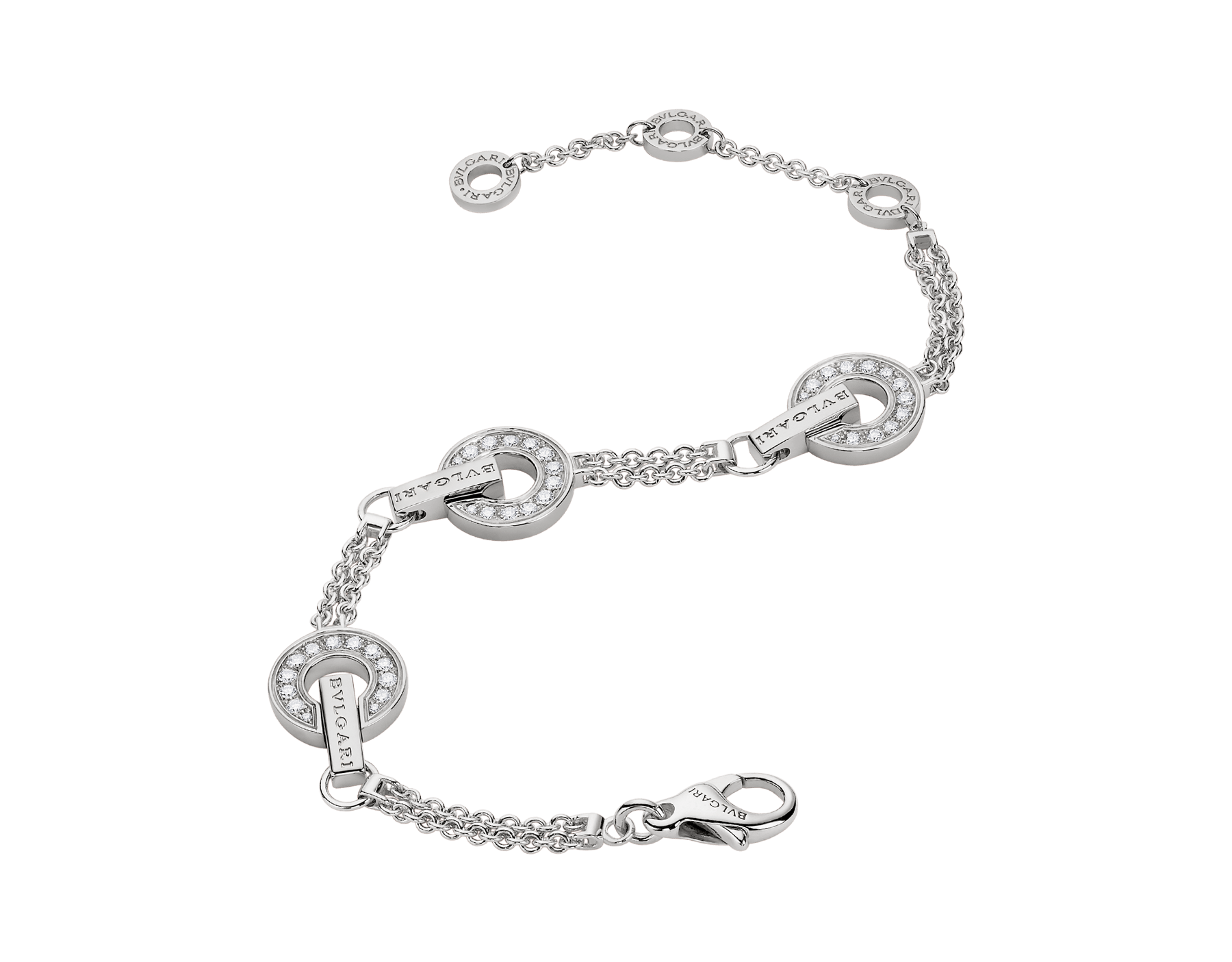 BVLGARI BVLGARI openwork 18 kt white gold bracelet set with full pavé diamonds on the circular elements BR859065 image 2
