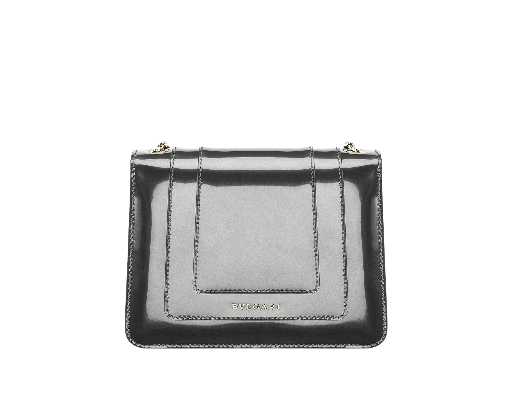 Flap cover bag Serpenti Forever in forest emerald brushed metallic calf leather. Brass light gold plated tempting snake head closure in black and white enamel, with eyes in green malachite. 422-BMCLa image 3