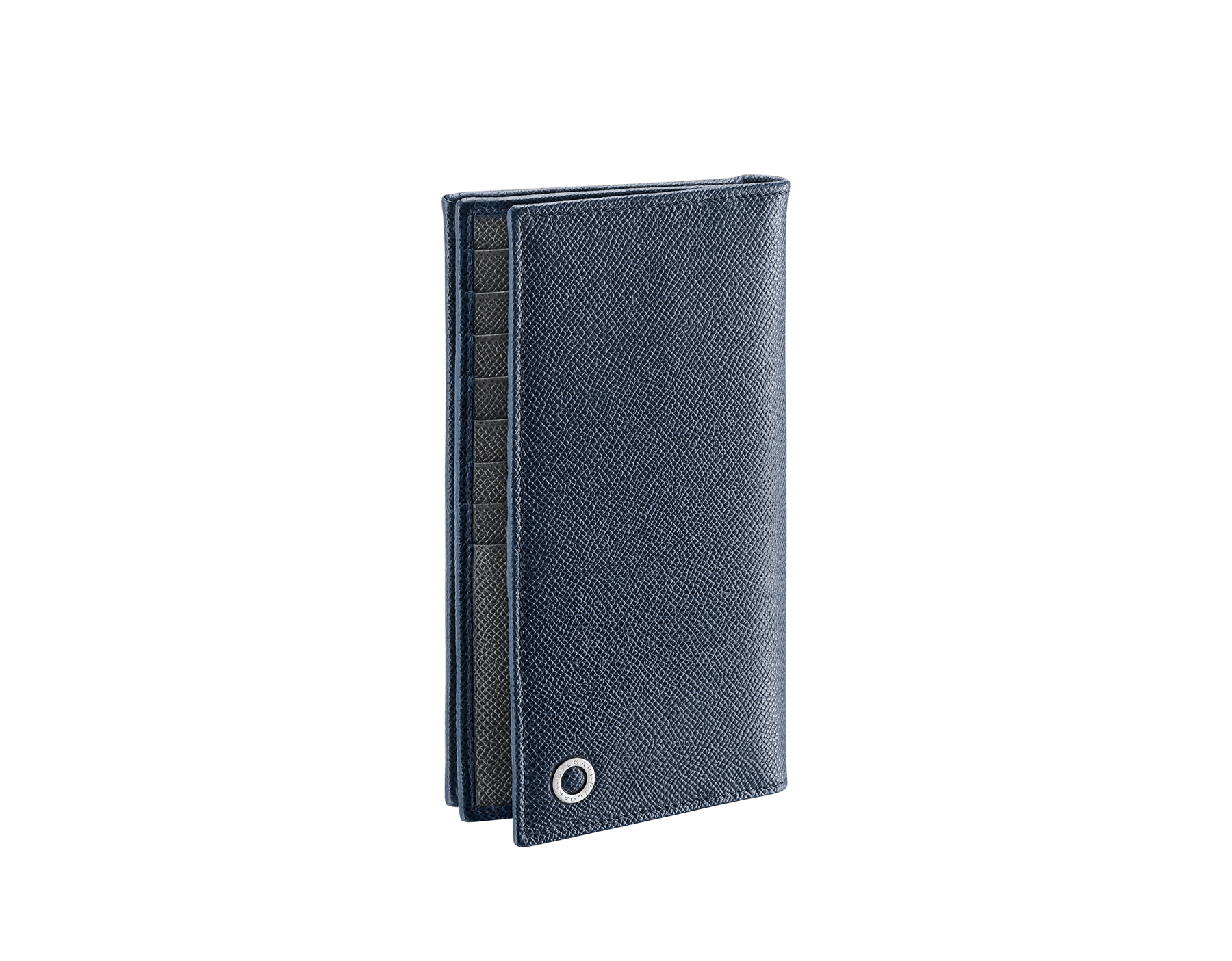 BVLGARI BVLGARI men's wallet in denim sapphire and charcoal diamond grain calf leather and blue slate nappa lining. Iconic logo décor in palladium plated brass. 289104 image 1