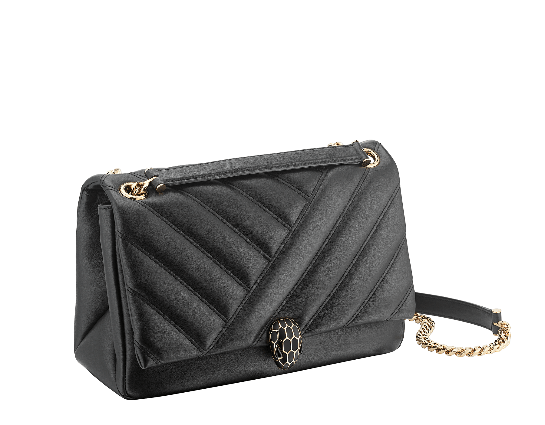 Serpenti Cabochon shoulder bag in soft matelassé white agate nappa leather with graphic motif and white agate calf leather. Snakehead closure in rose gold plated brass decorated with matte black and white enamel, and black onyx eyes. 979-NSM image 2