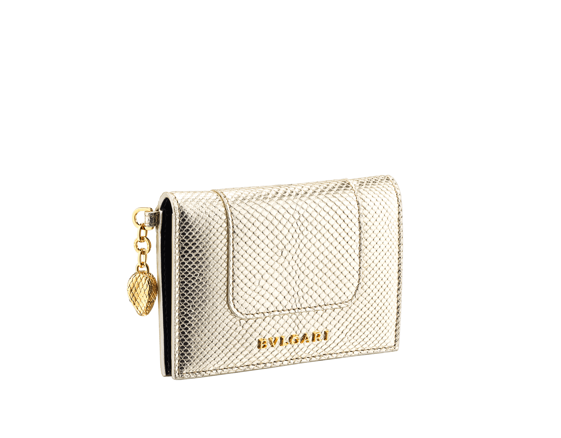 """Serpenti Forever"" folded card holder in ""Molten"" light gold karung skin and black calf leather. New Serpenti head charm in gold-plated brass, finished with red enamel eyes. 290948 image 1"