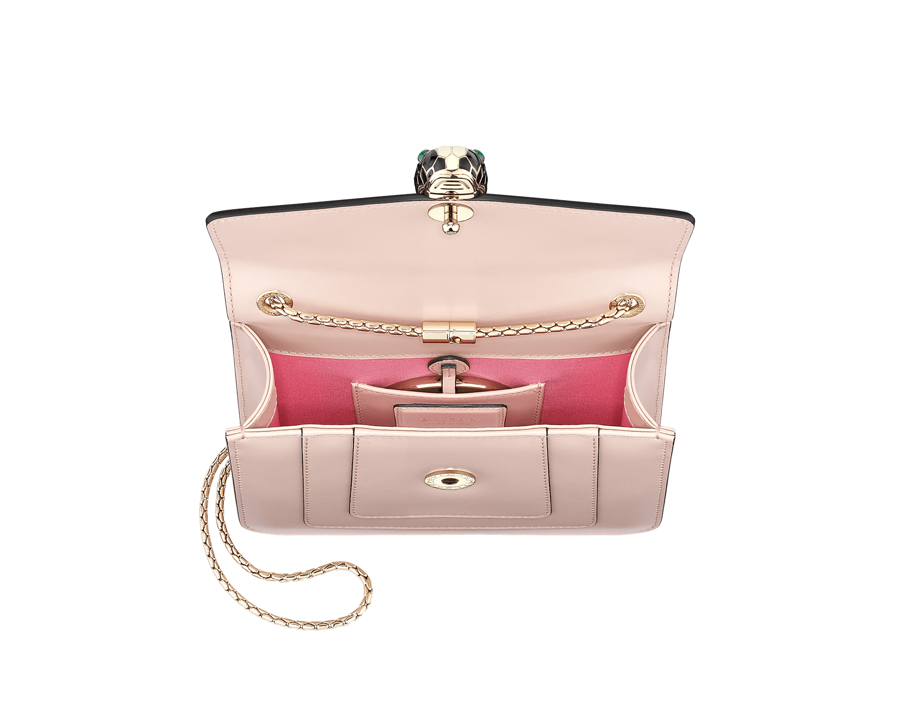 """Serpenti Forever"" crossbody bag in crystal rose calf leather. Iconic snakehead closure in light gold plated brass enriched with black and white enamel and green malachite eyes 287017 image 4"
