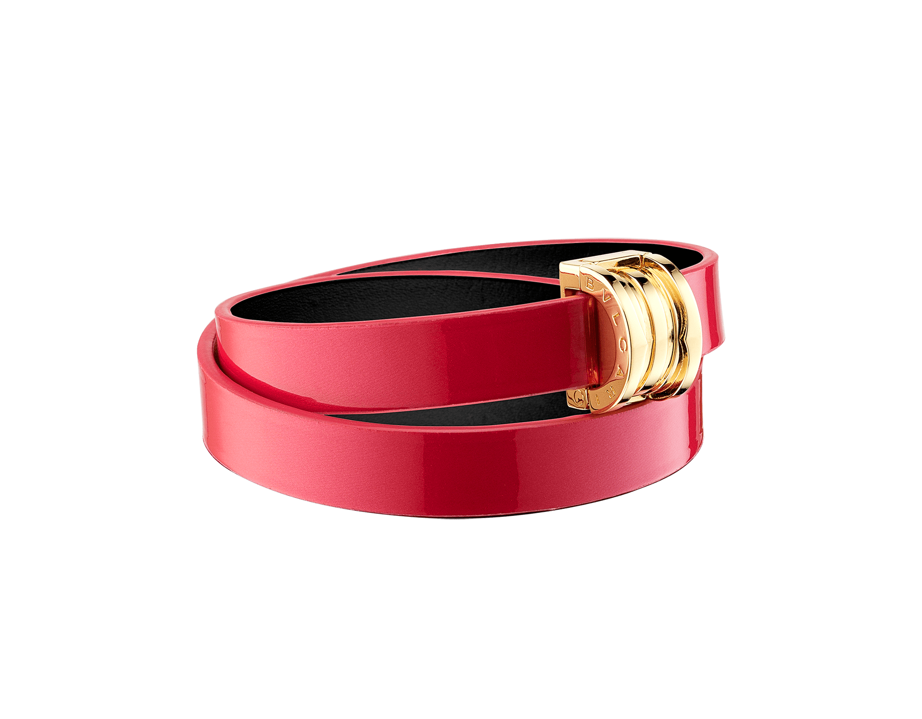 """""""BVLGARI BVLGARI"""" double-coiled bracelet in Amaranth Garnet red calf leather with a varnished and pearled effect, finished with a B.Zero1 snap closure in gold plated brass. BZERO1-VCL-AG image 1"""