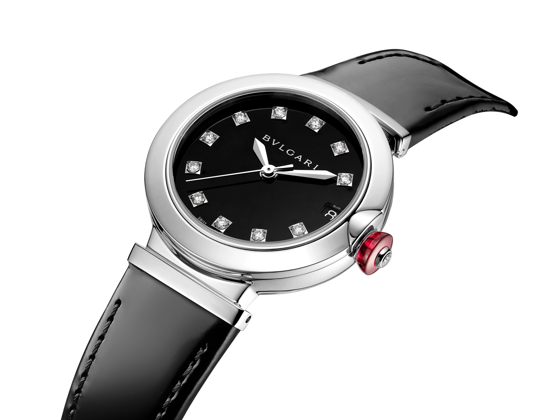 LVCEA watch with stainless steel case, black lacquered dial, diamond indexes and black varnished calf bracelet 103503 image 2