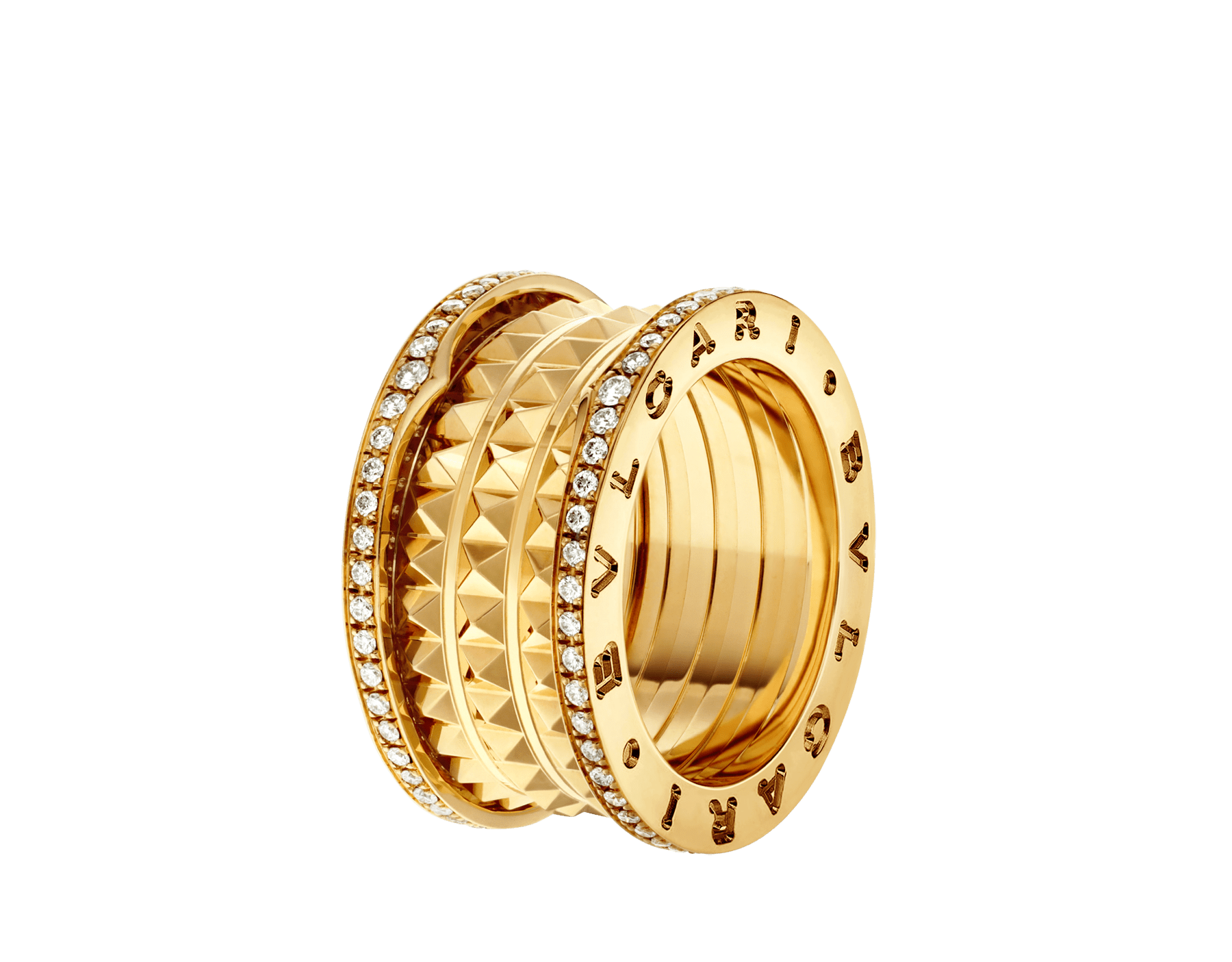 Bagues pour couples B.zero1 Rock et B.zero1 en or jaune 18 K, dont une avec spirale cloutée et pavé diamant sur les bords. Un duo de bagues intemporel au design avant-gardiste mêlé à un charme audacieux. Bzero1-Rock-and-Bzero1-Yellow-Gold-Couples-Rings image 2